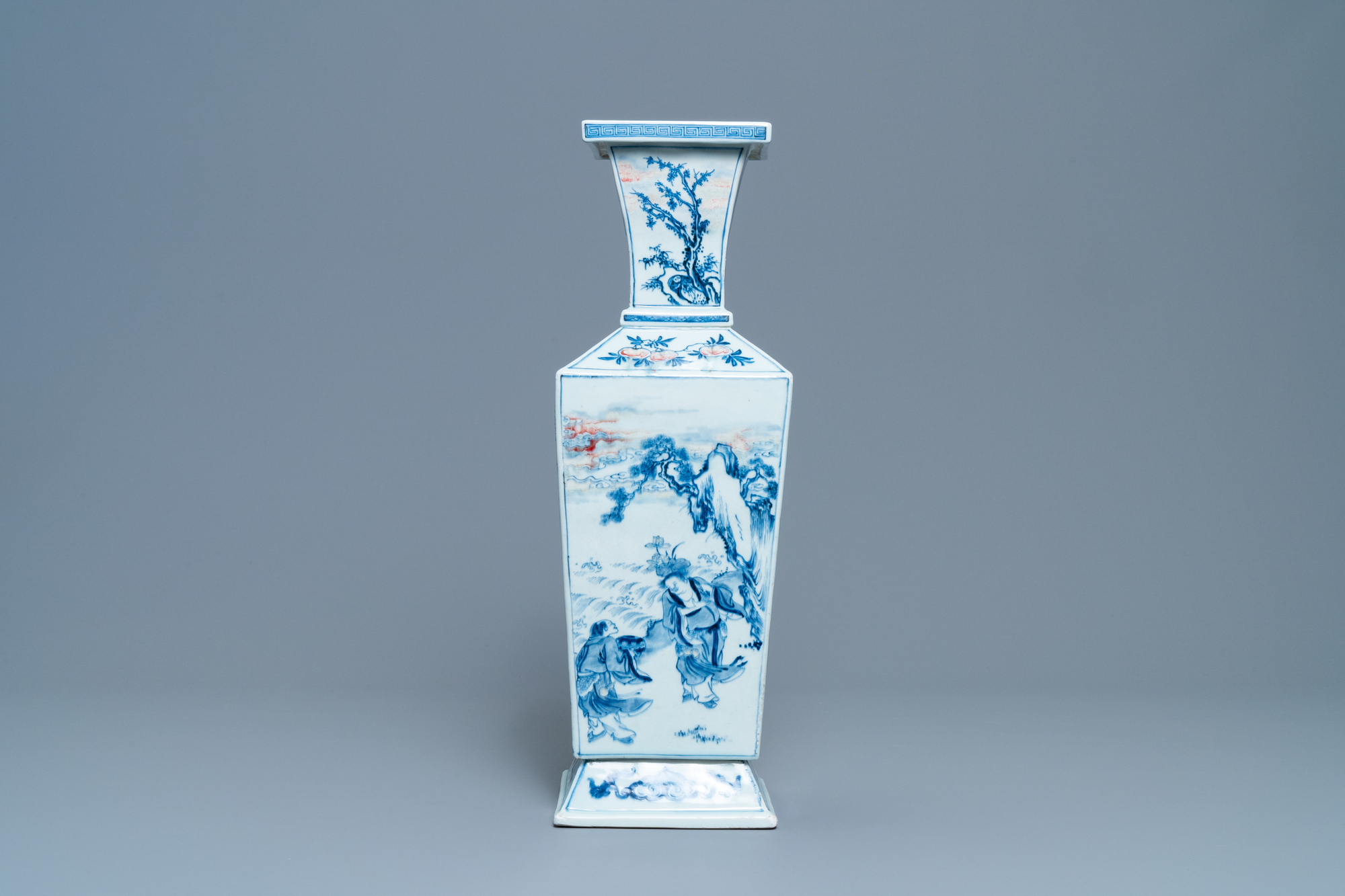 A Chinese square-sectioned blue, white and copper-red vase, Kangxi - Image 5 of 13