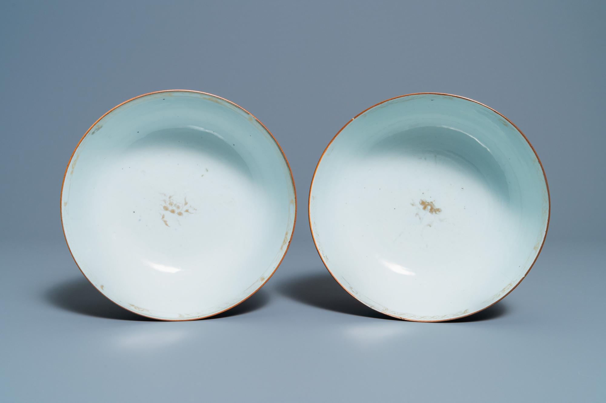 Three Chinese gilt-decorated monochrome blue bowls, Kangxi - Image 6 of 13