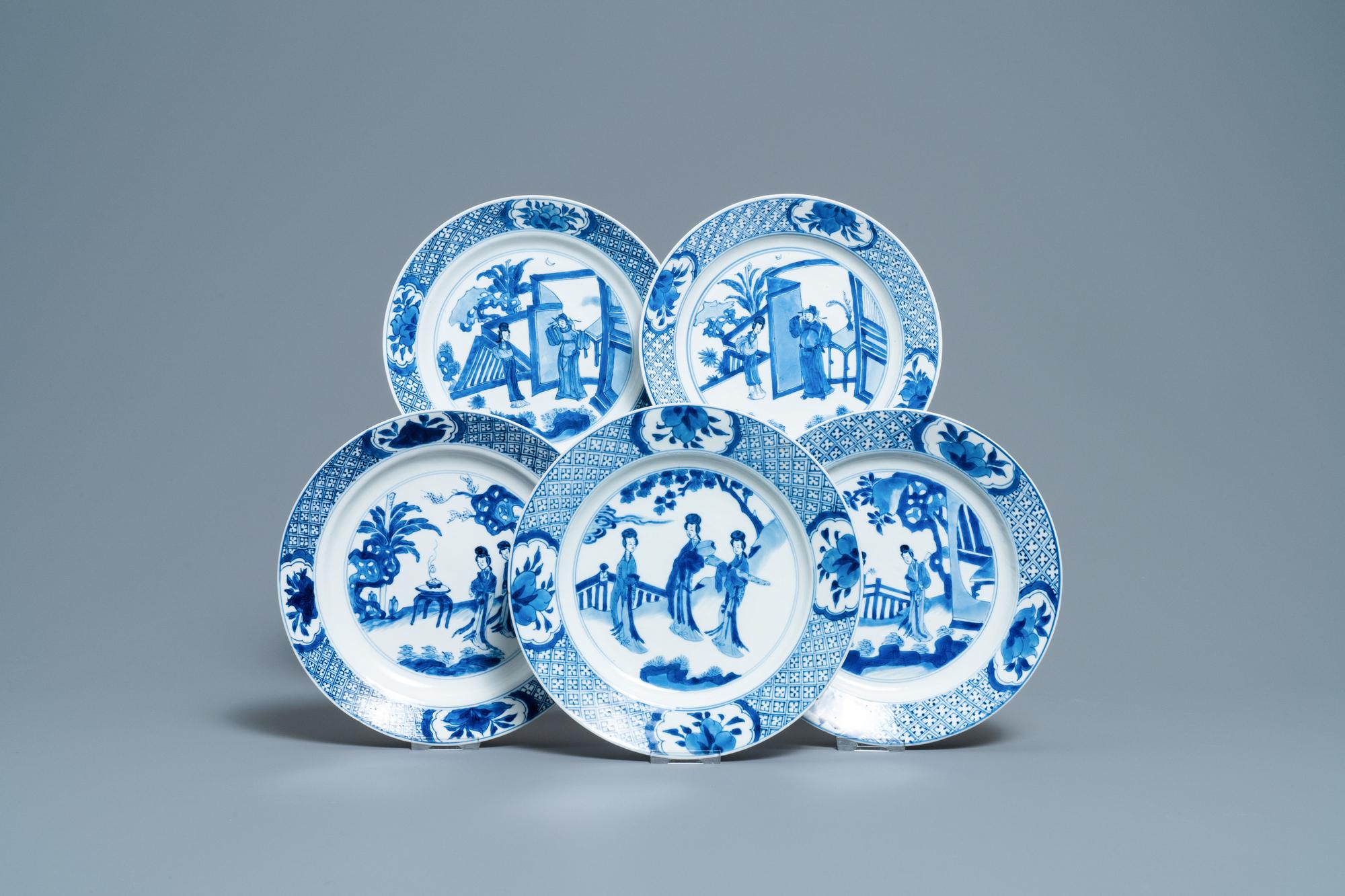 Five Chinese blue and white figurative plates, Kangxi and Chenghua marks, Kangxi