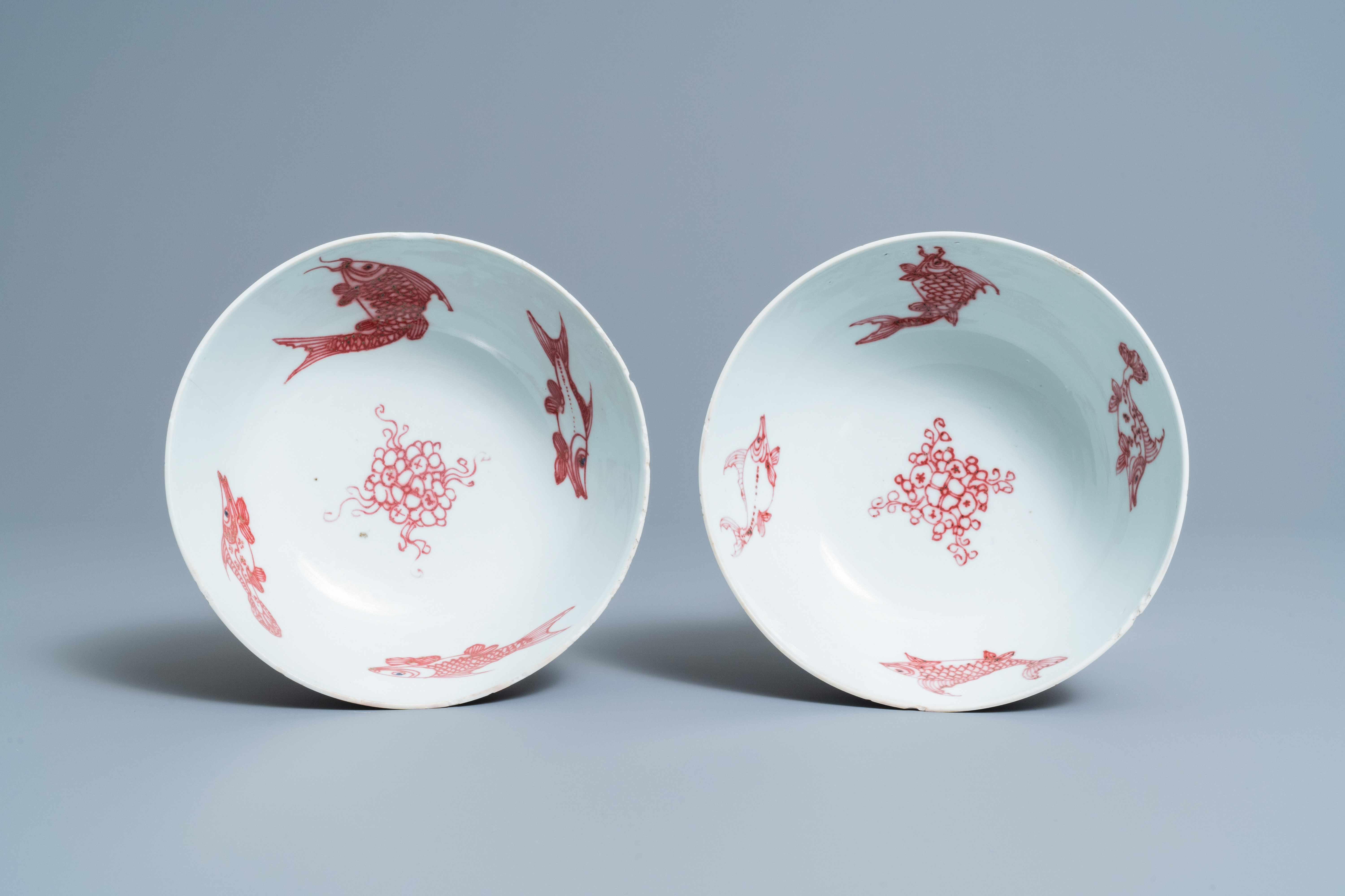 A pair of Chinese copper-red 'dragons and carps' bowls, Kangxi/Qianlong - Image 7 of 8