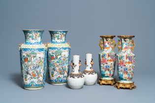 Three pairs of Chinese famille rose, verte and crackle-glazed vases, 19th C.