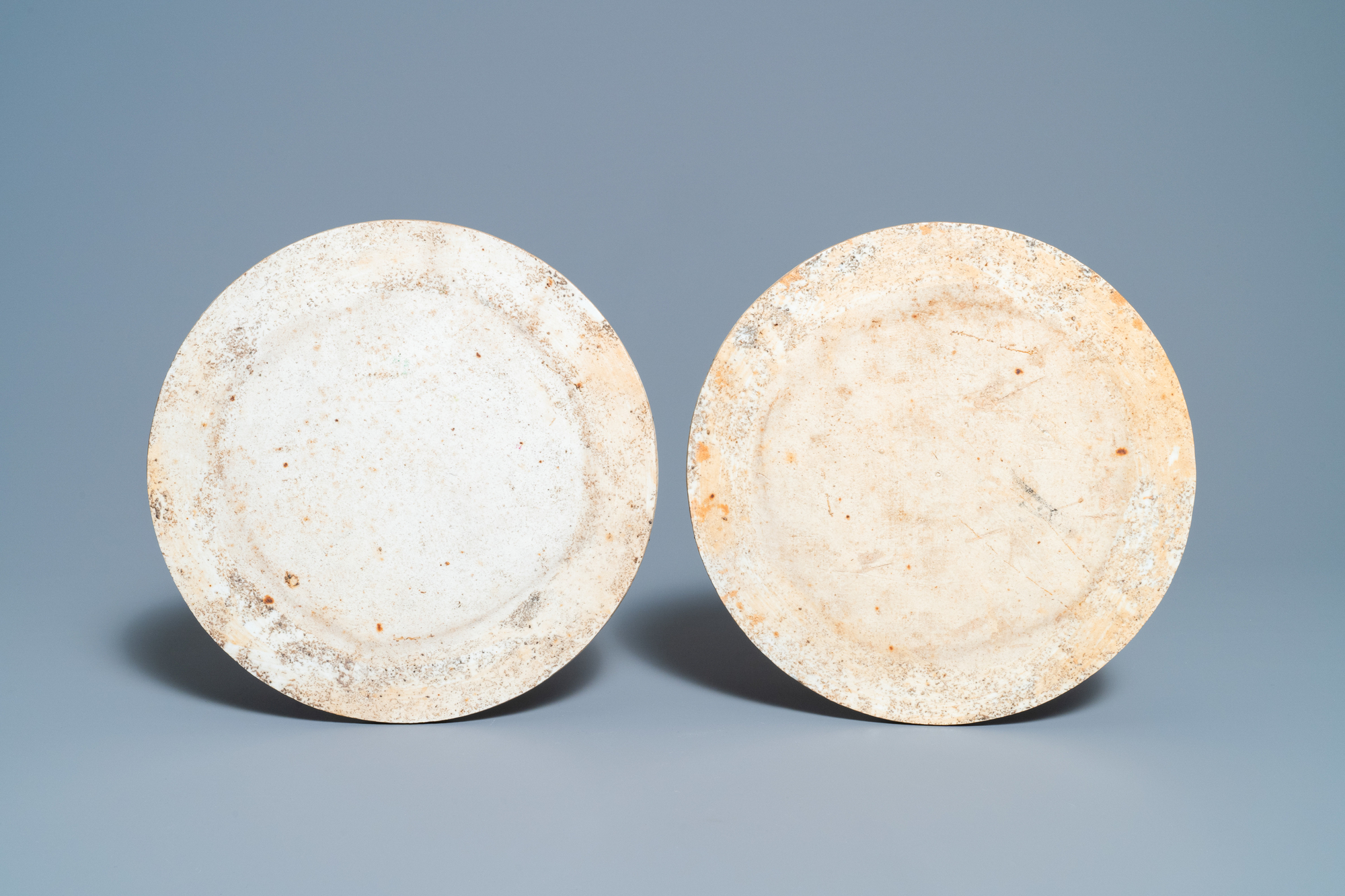 Two round Chinese qianjiang cai 'landscape' plaques, signed Ao Shaoquan and dated 1904 - Image 3 of 3