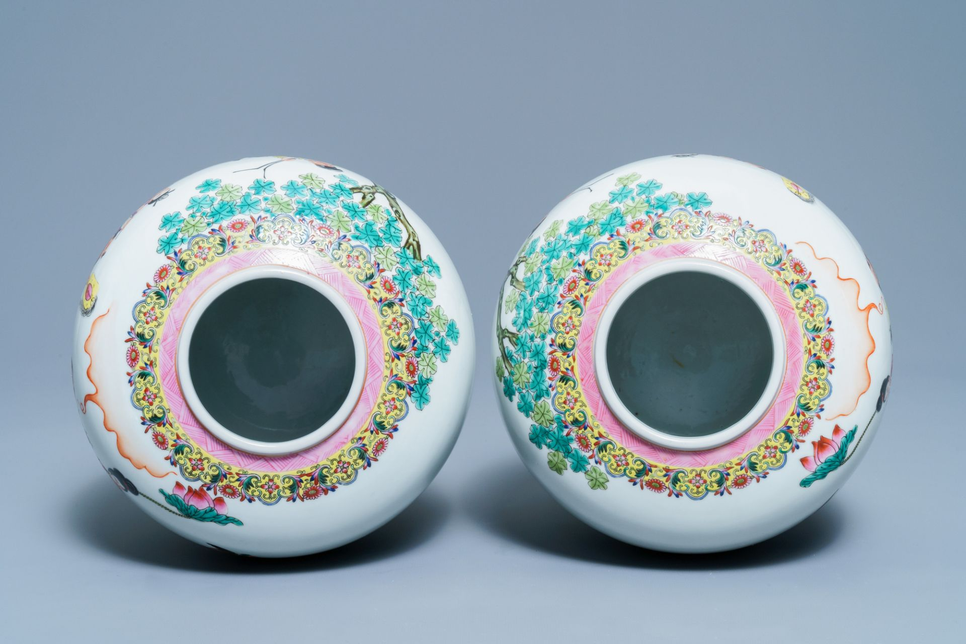 A pair of Chinese famille rose covered jars, Qianlong mark, Republic - Image 5 of 8