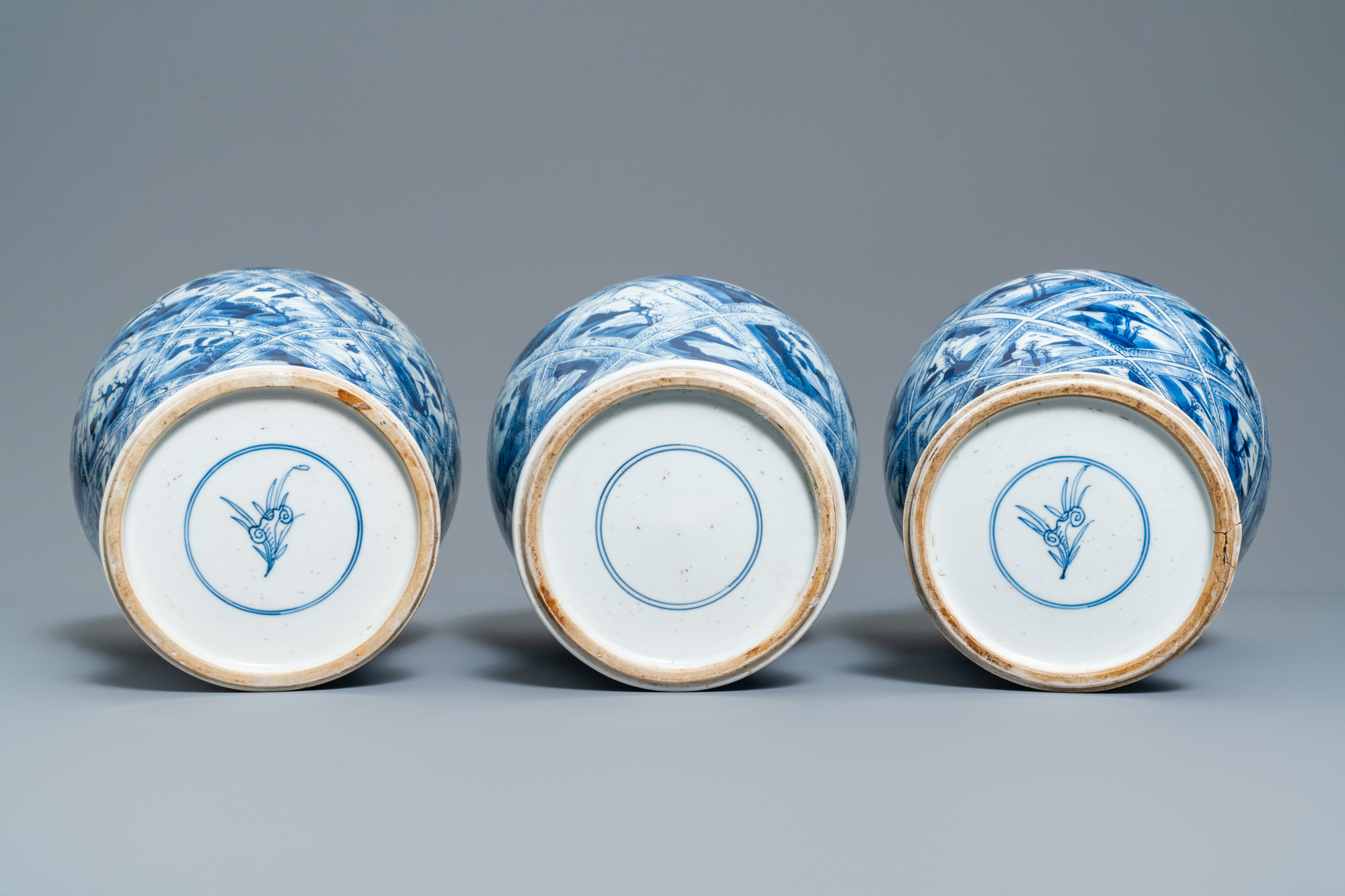 A large Chinese blue and white five-piece garniture with floral and landscape panels, Kangxi - Image 7 of 66