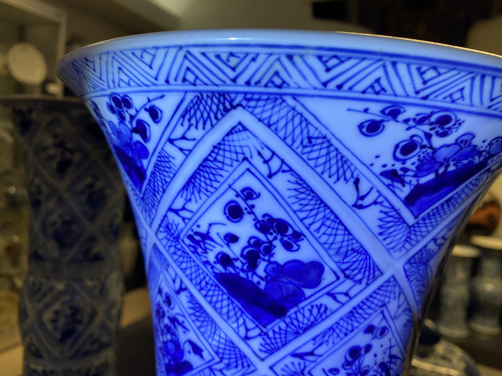 A large Chinese blue and white five-piece garniture with floral and landscape panels, Kangxi - Image 52 of 66