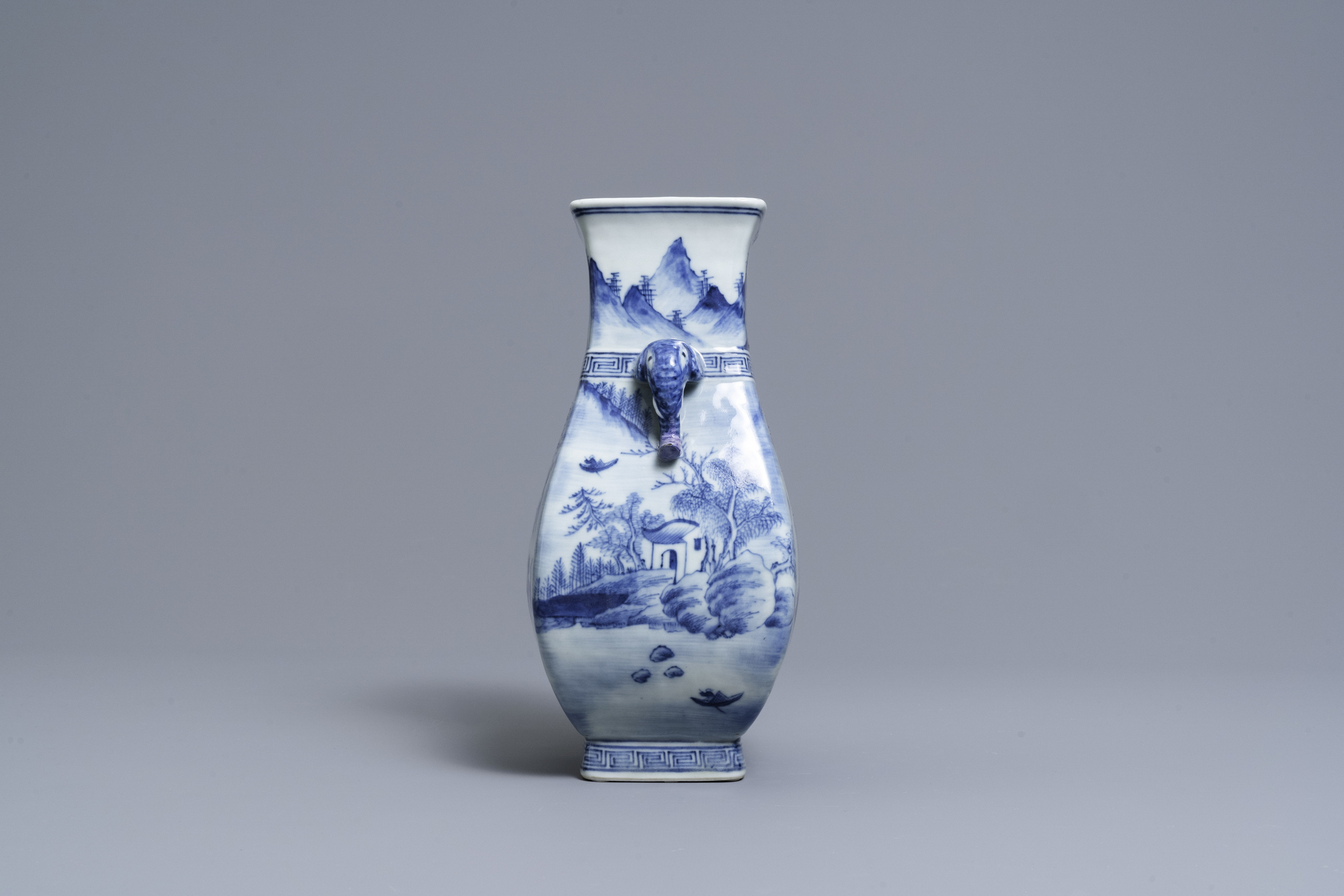 A Chinese blue and white vase with elephant handles, Qianlong - Image 2 of 6