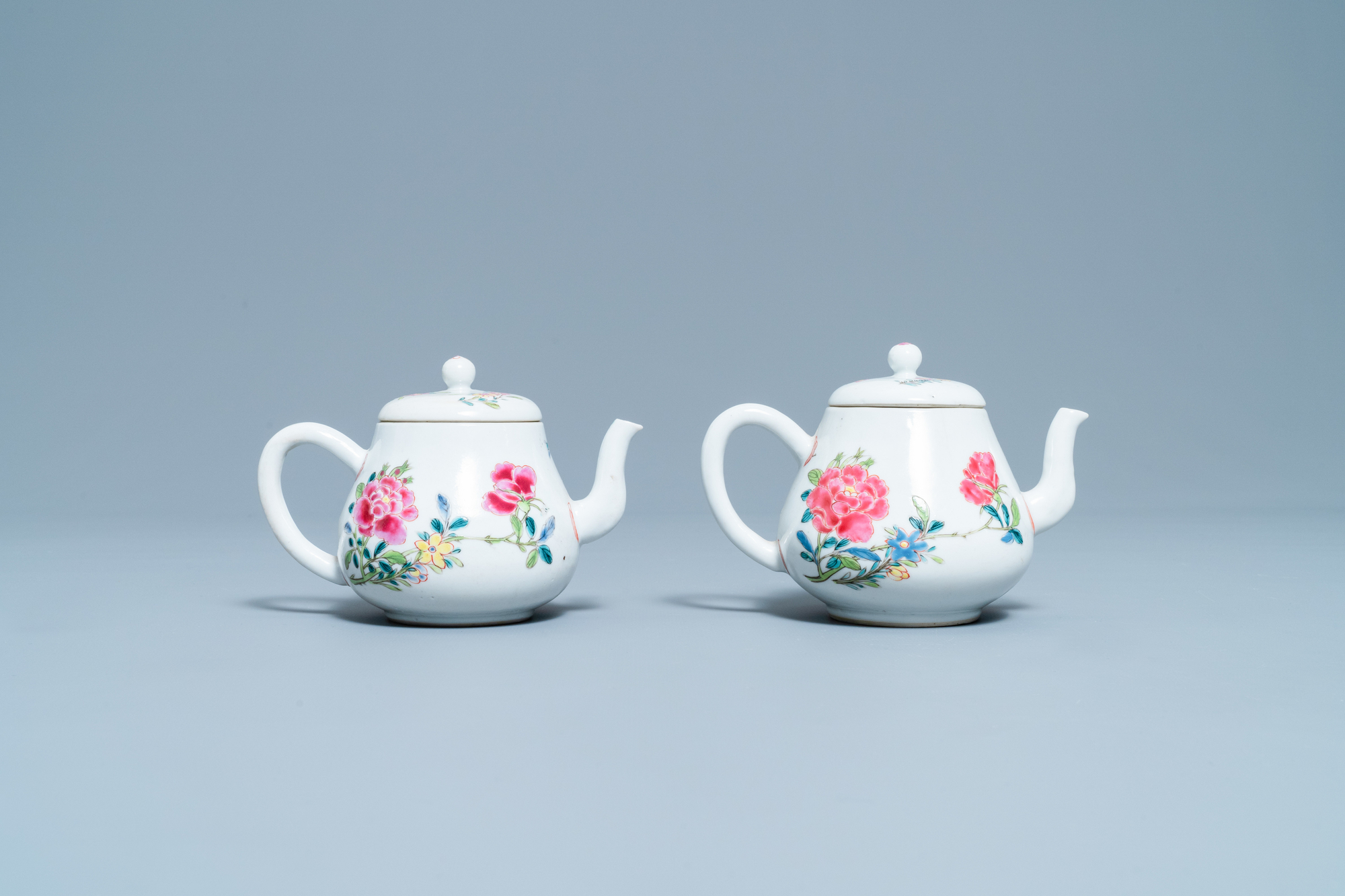 A pair of Chinese famille rose relief-decorated dishes, Yongzheng - Image 4 of 7
