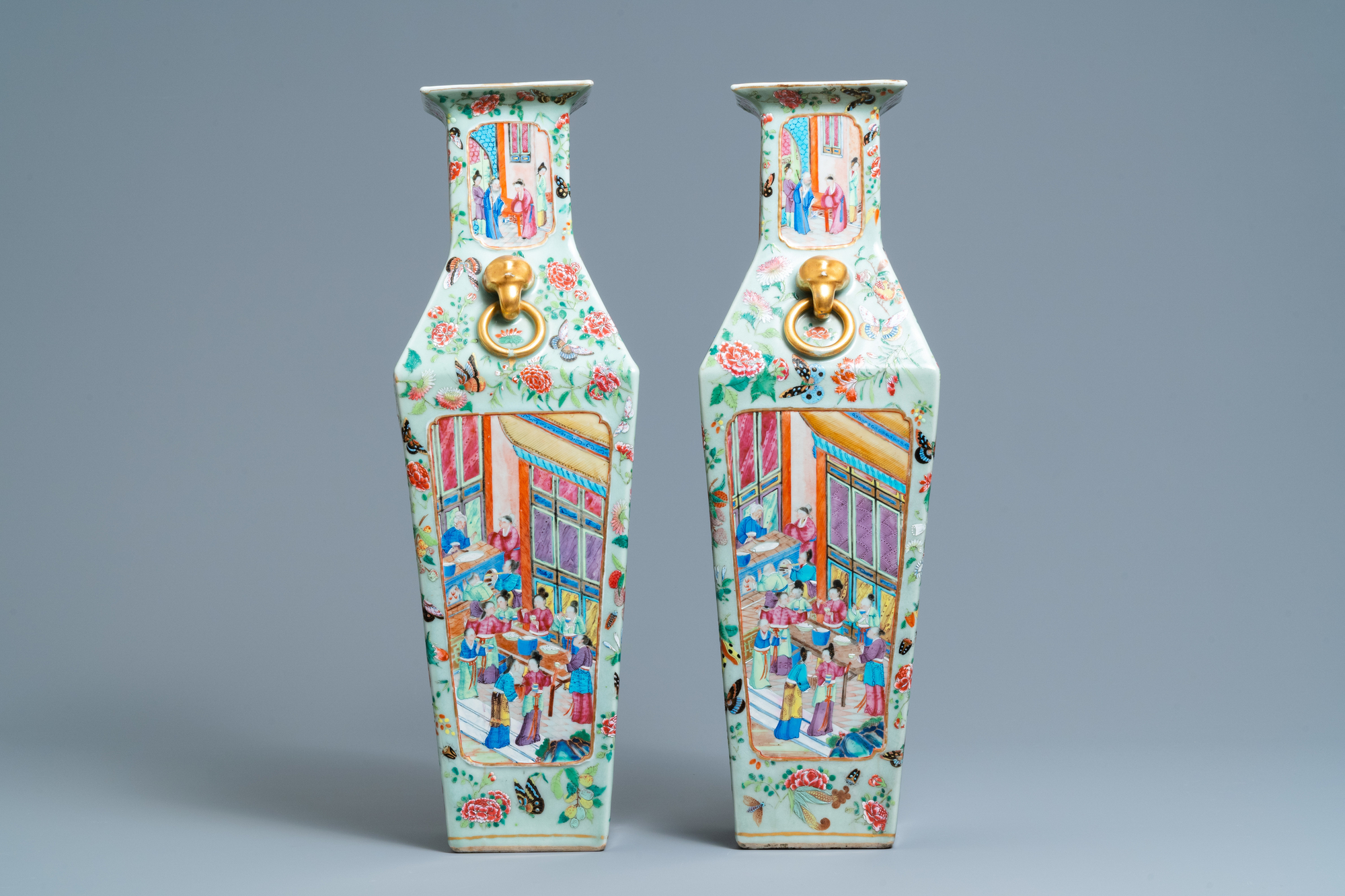 A pair of Chinese square famille rose celadon-ground vases on gilt bronze feet, 19th C. - Image 5 of 7