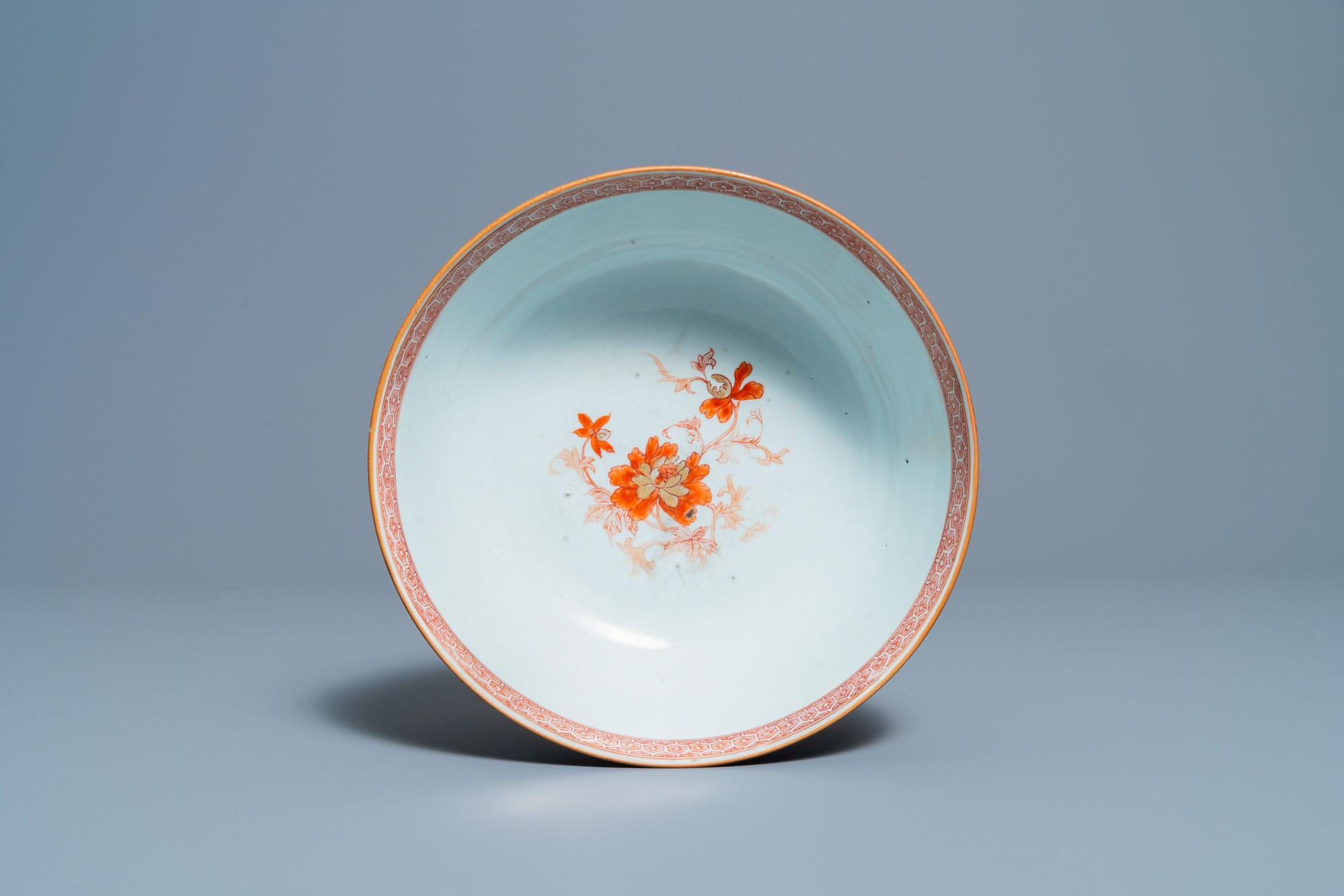 Three Chinese gilt-decorated monochrome blue bowls, Kangxi - Image 12 of 13