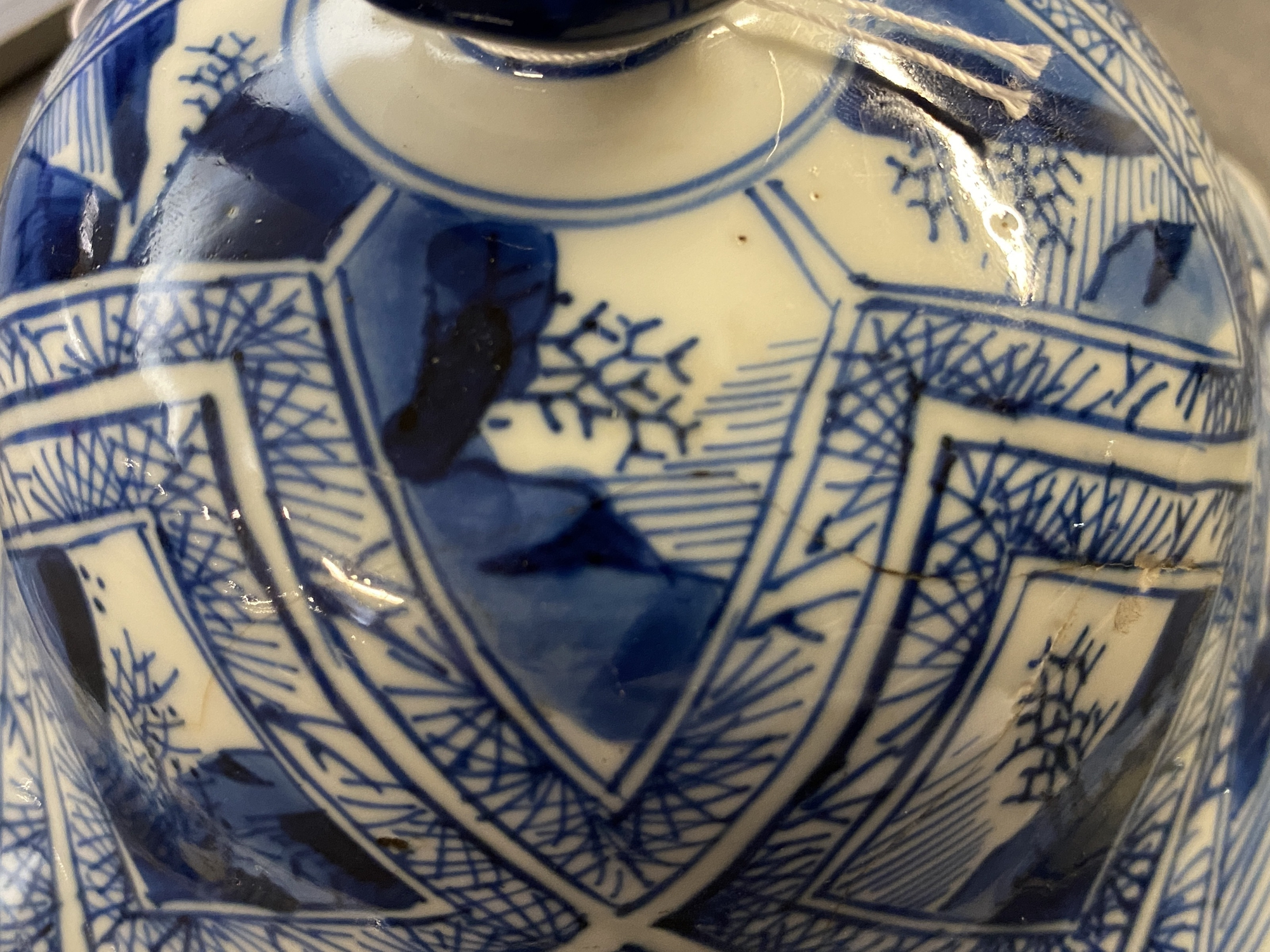 A large Chinese blue and white five-piece garniture with floral and landscape panels, Kangxi - Image 25 of 66