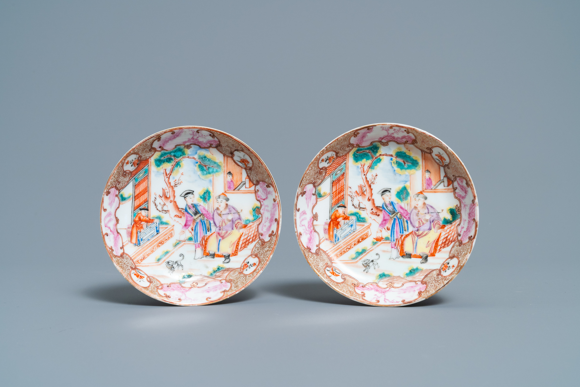 A pair of fine Chinese famille rose 'Mandarin' cups and saucers, Qianlong - Image 2 of 9