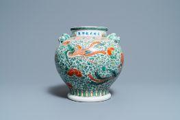 A Chinese 'wucai' phoenix vase, Chenghua mark, 19th C.
