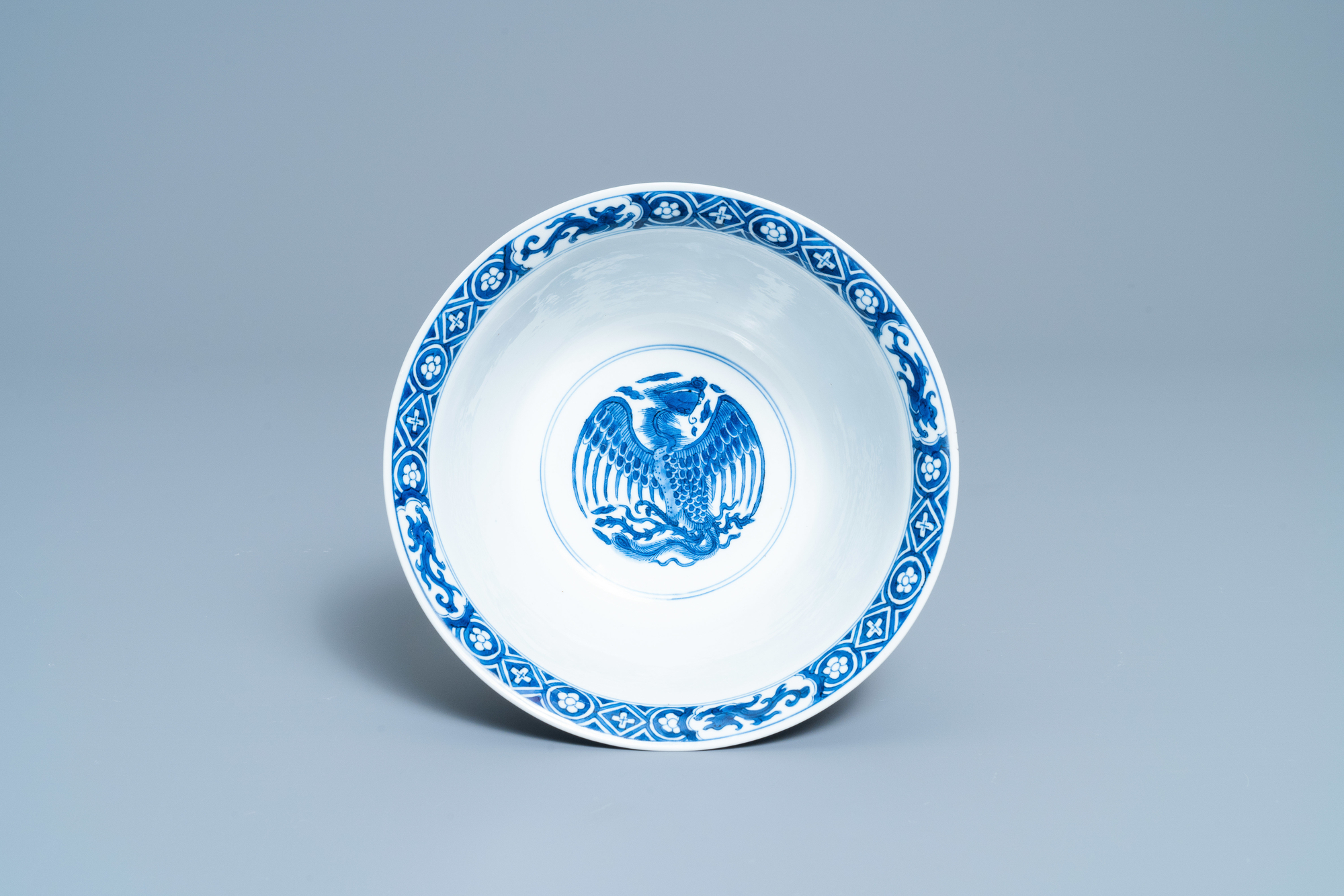 A Chinese blue and white 'dragon and phoenix bowl', Chenghua mark, Kangxi - Image 7 of 17
