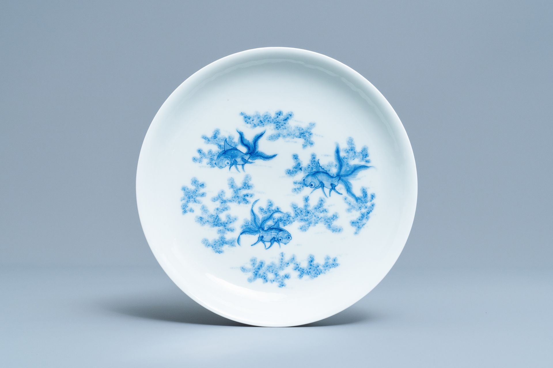 A Chinese blue and white 'goldfish' plate, Daoguang mark, Republic