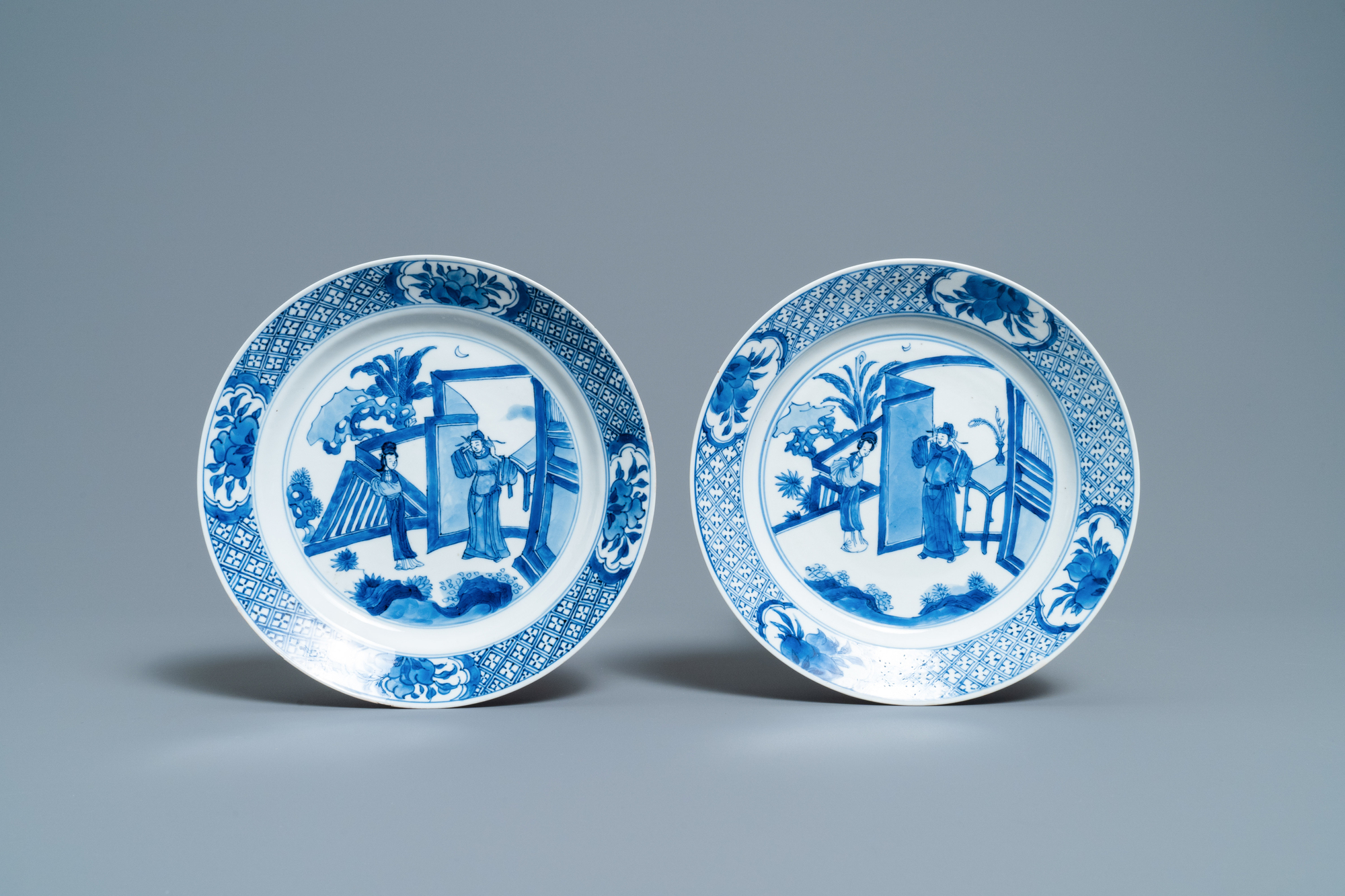 Five Chinese blue and white figurative plates, Kangxi and Chenghua marks, Kangxi - Image 2 of 5