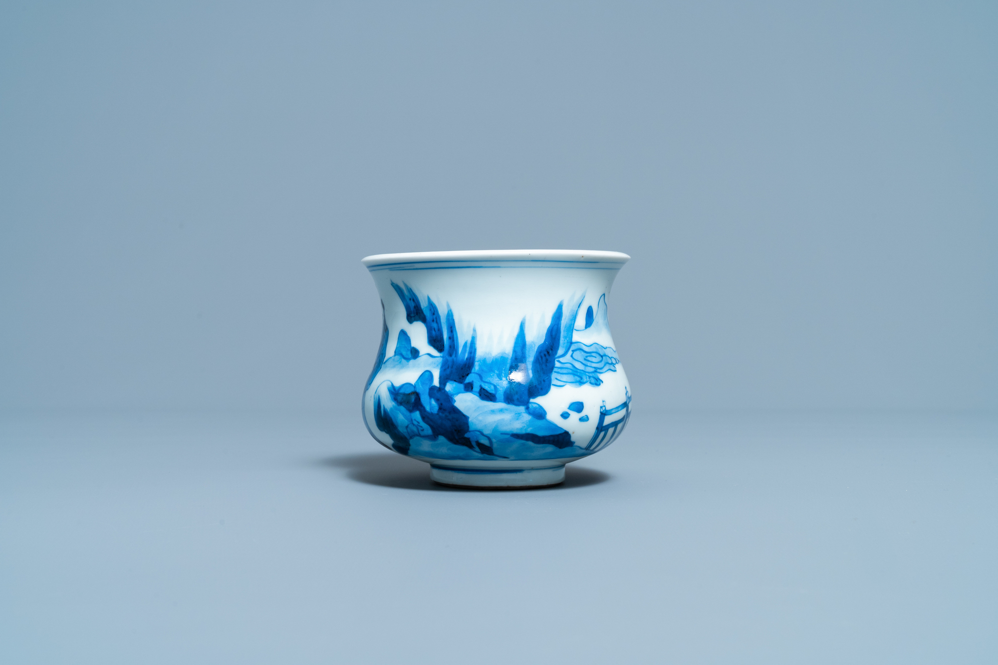 A Chinese blue and white censer with figures in a landscape, Kangxi - Image 3 of 7