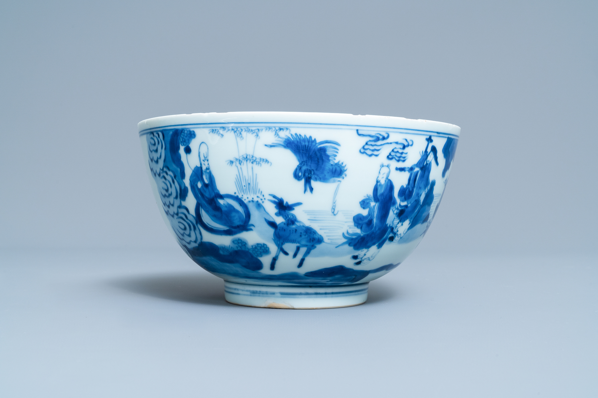 A Chinese blue and white 'immortals' bowl, Kangxi - Image 3 of 31