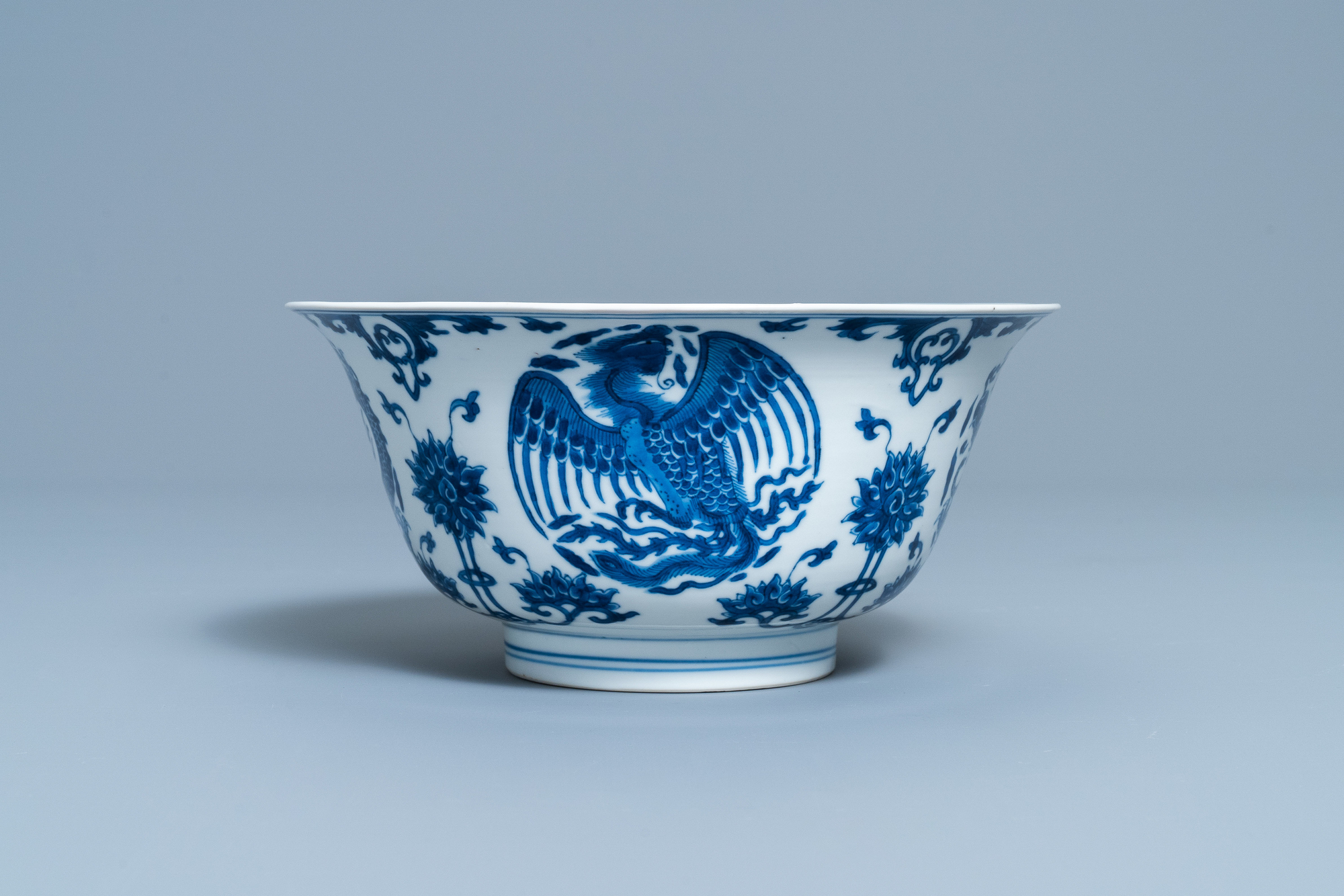A Chinese blue and white 'dragon and phoenix bowl', Chenghua mark, Kangxi - Image 6 of 17