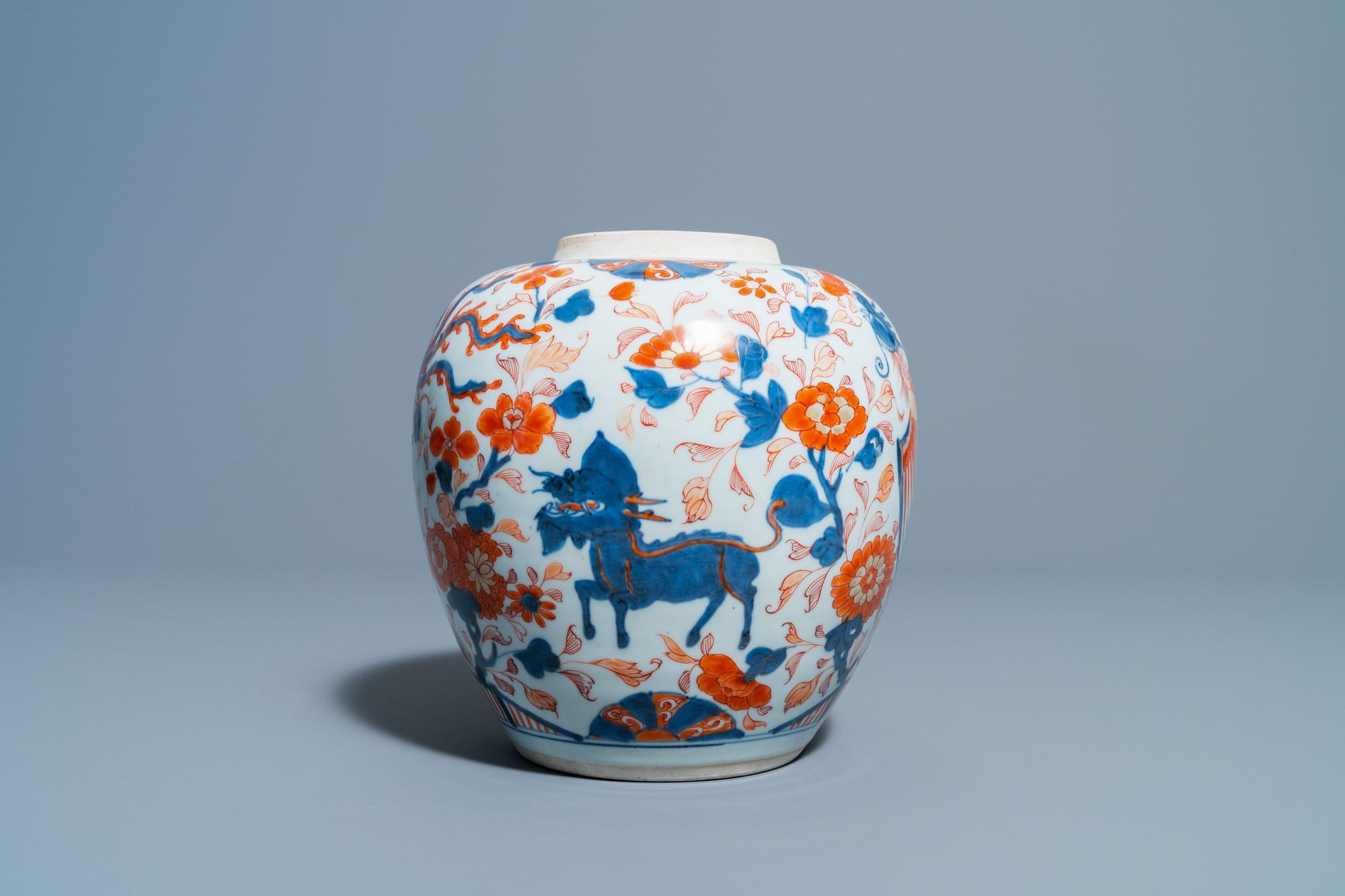 A Chinese Imari-style 'qilins and phoenixes' jar, Kangxi - Image 2 of 6