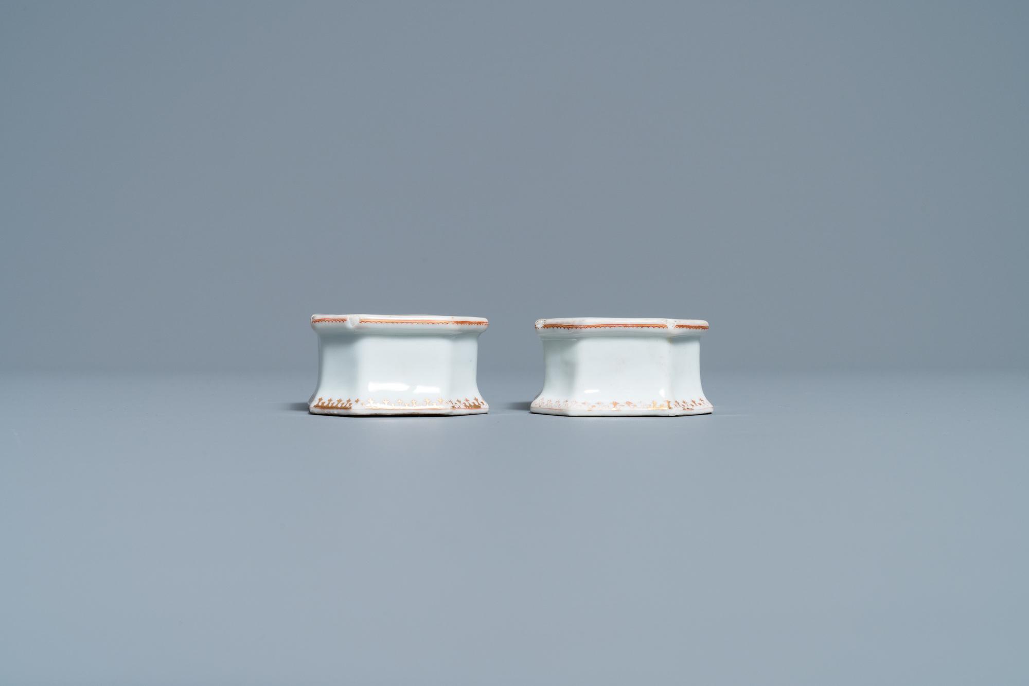 A pair of Chinese Scottish market Ross of Balnagowan armorial salt cellars, Qianlong - Image 5 of 7