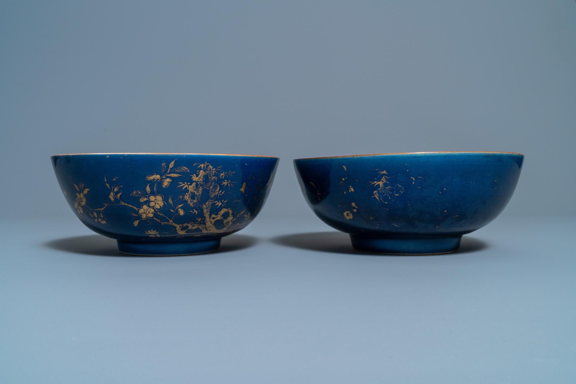 Three Chinese gilt-decorated monochrome blue bowls, Kangxi - Image 2 of 13