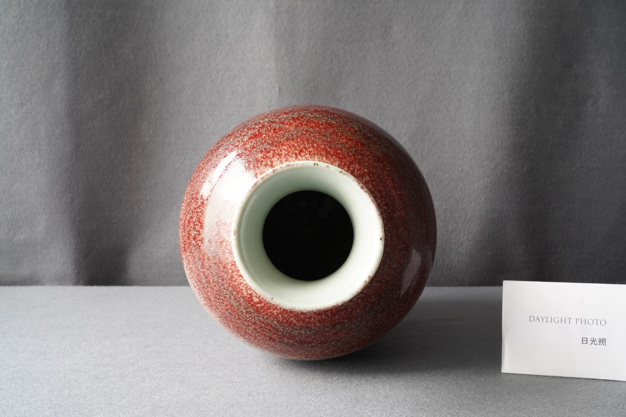 A Chinese monochrome peachbloom-glazed vase, 18/19th C. - Image 10 of 19