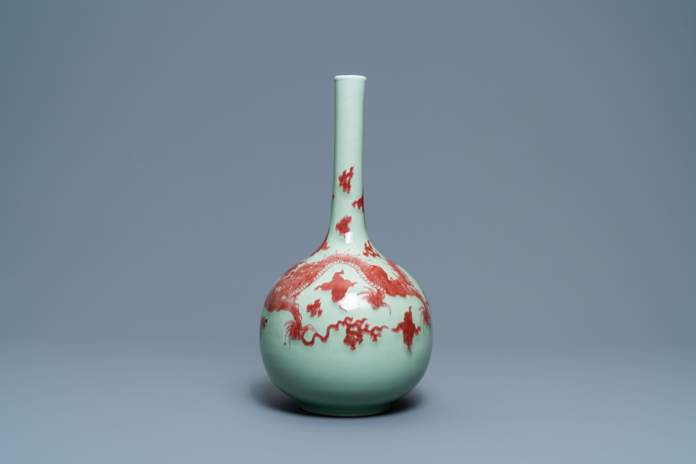 A Chinese copper-red celadon-ground 'dragon' vase, Kangxi - Image 5 of 13