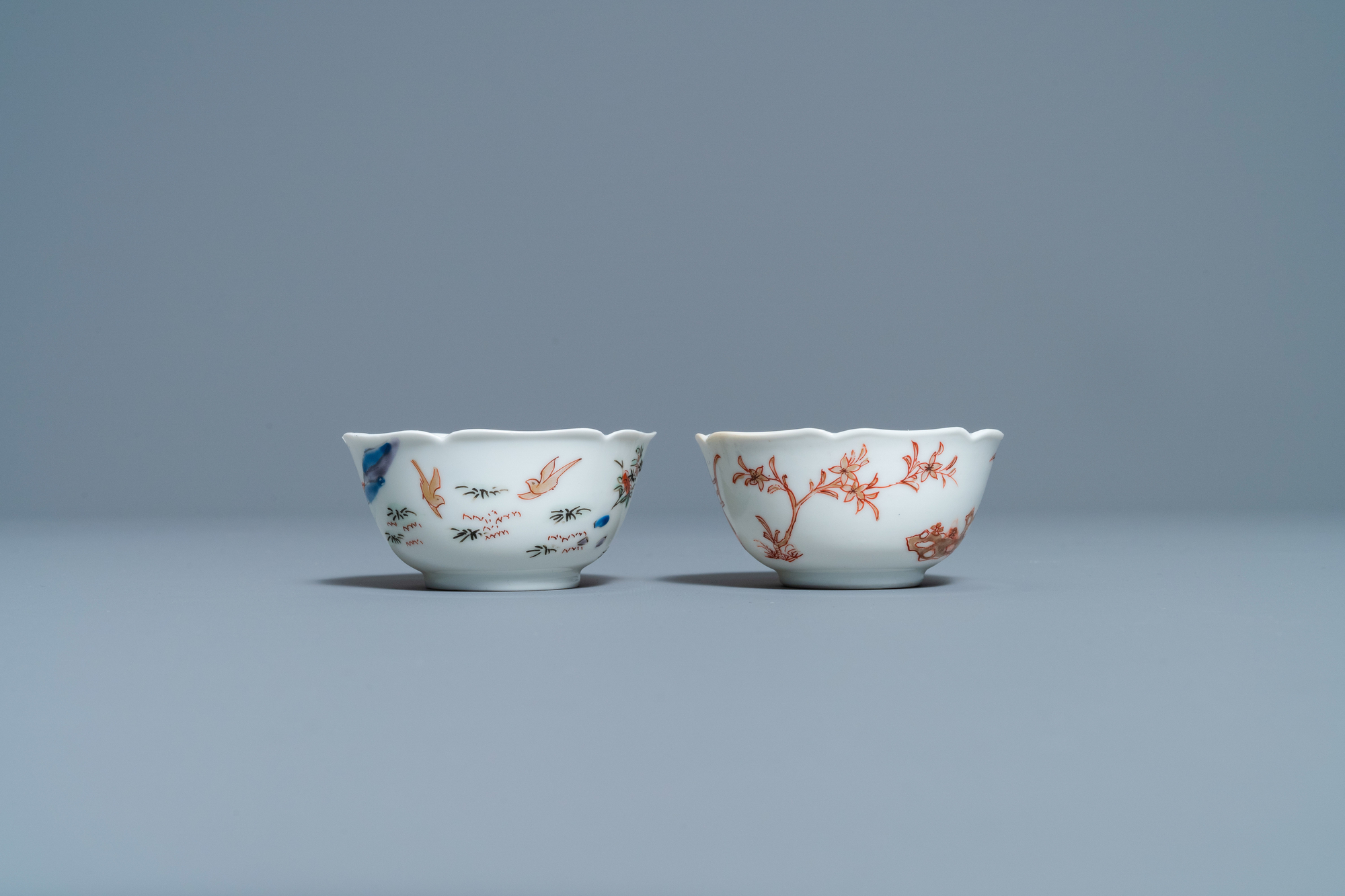 Two Chinese iron-red and gilt cups and saucers, Yongzheng - Image 6 of 9