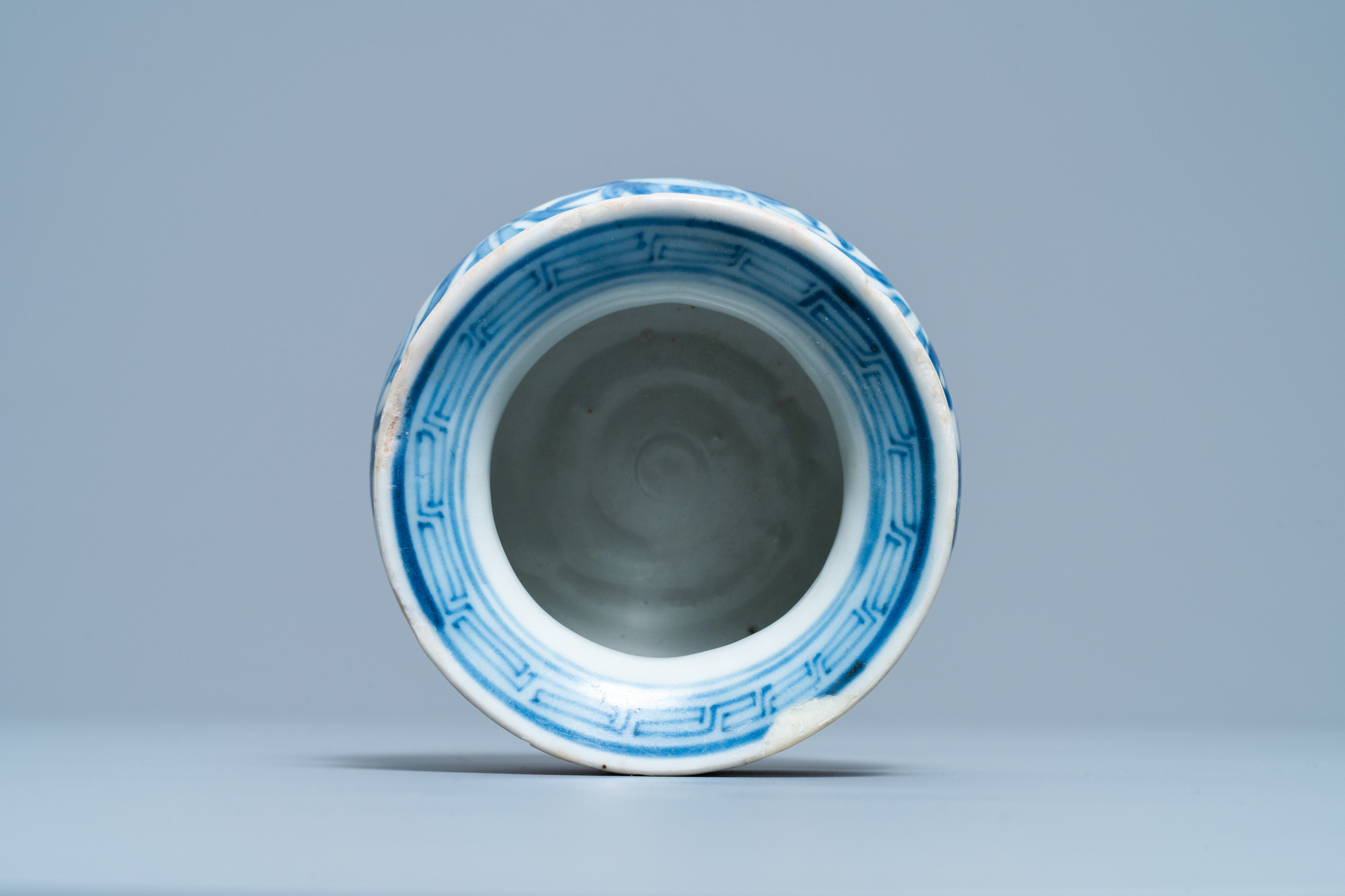 A small Chinese blue and white 'Taoist symbols' censer, Ming - Image 6 of 7