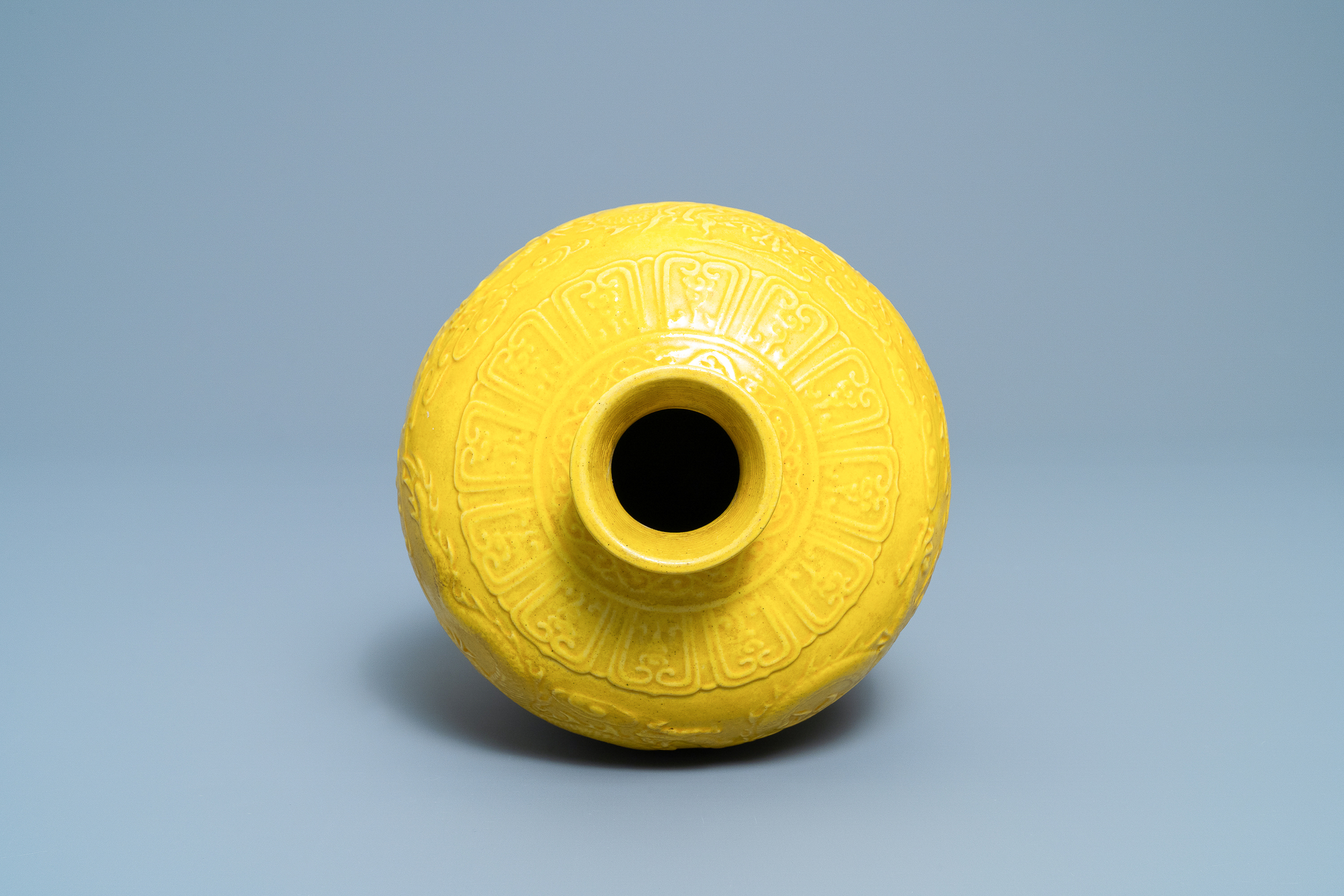 A Chinese relief-molded monochrome yellow meiping 'dragon' vase, Republic - Image 5 of 6