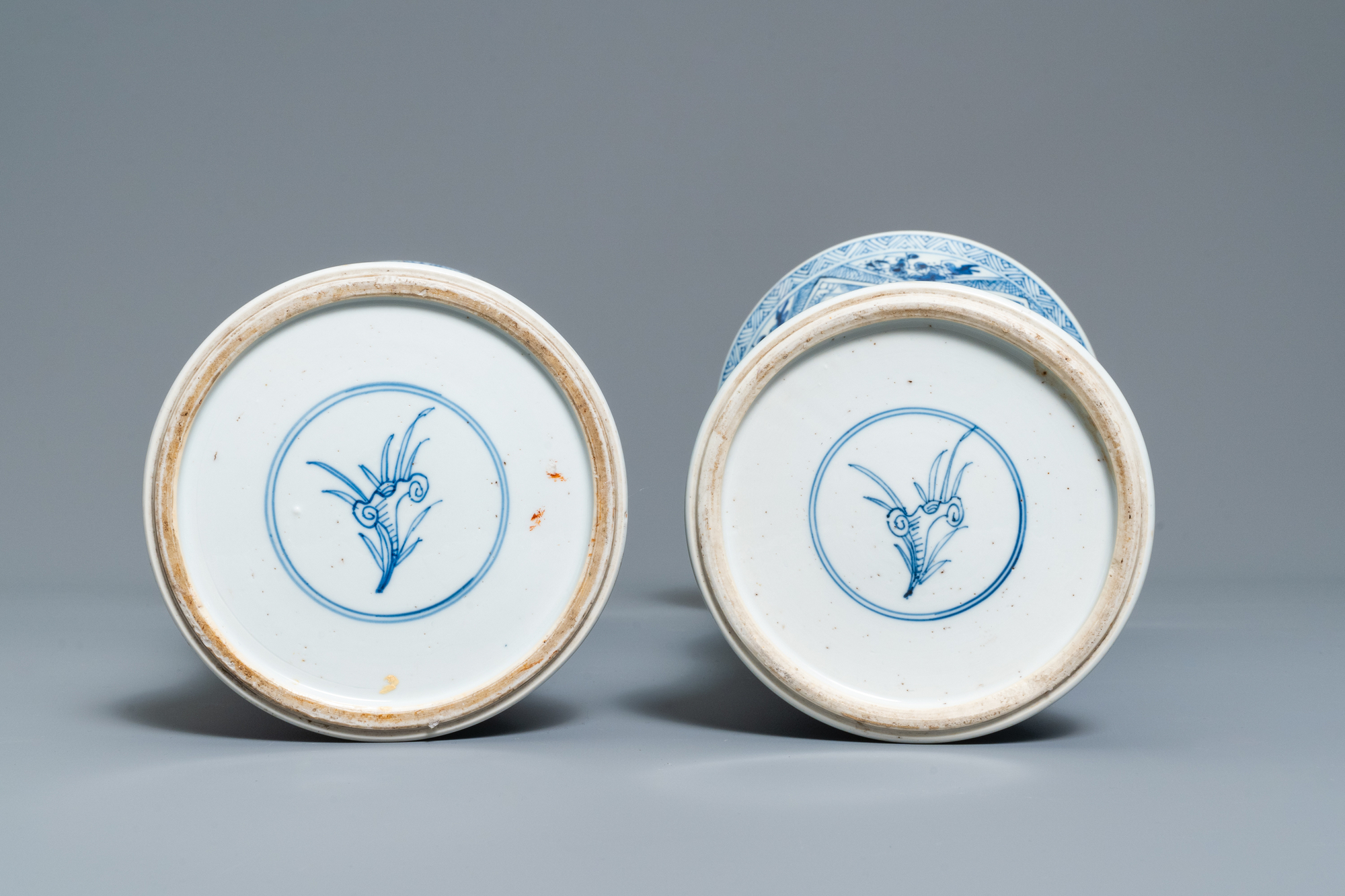 A large Chinese blue and white five-piece garniture with floral and landscape panels, Kangxi - Image 15 of 66