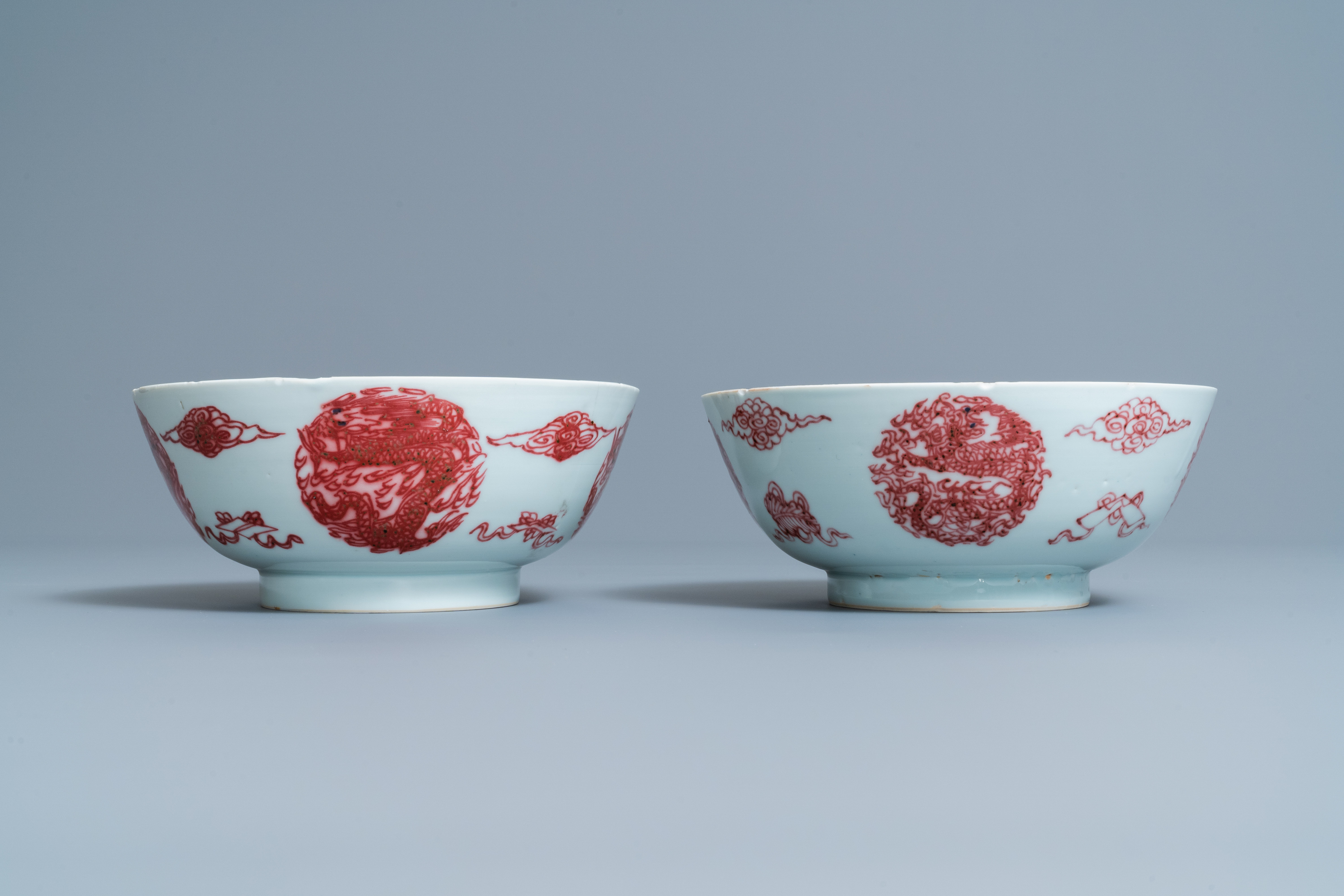 A pair of Chinese copper-red 'dragons and carps' bowls, Kangxi/Qianlong - Image 5 of 8