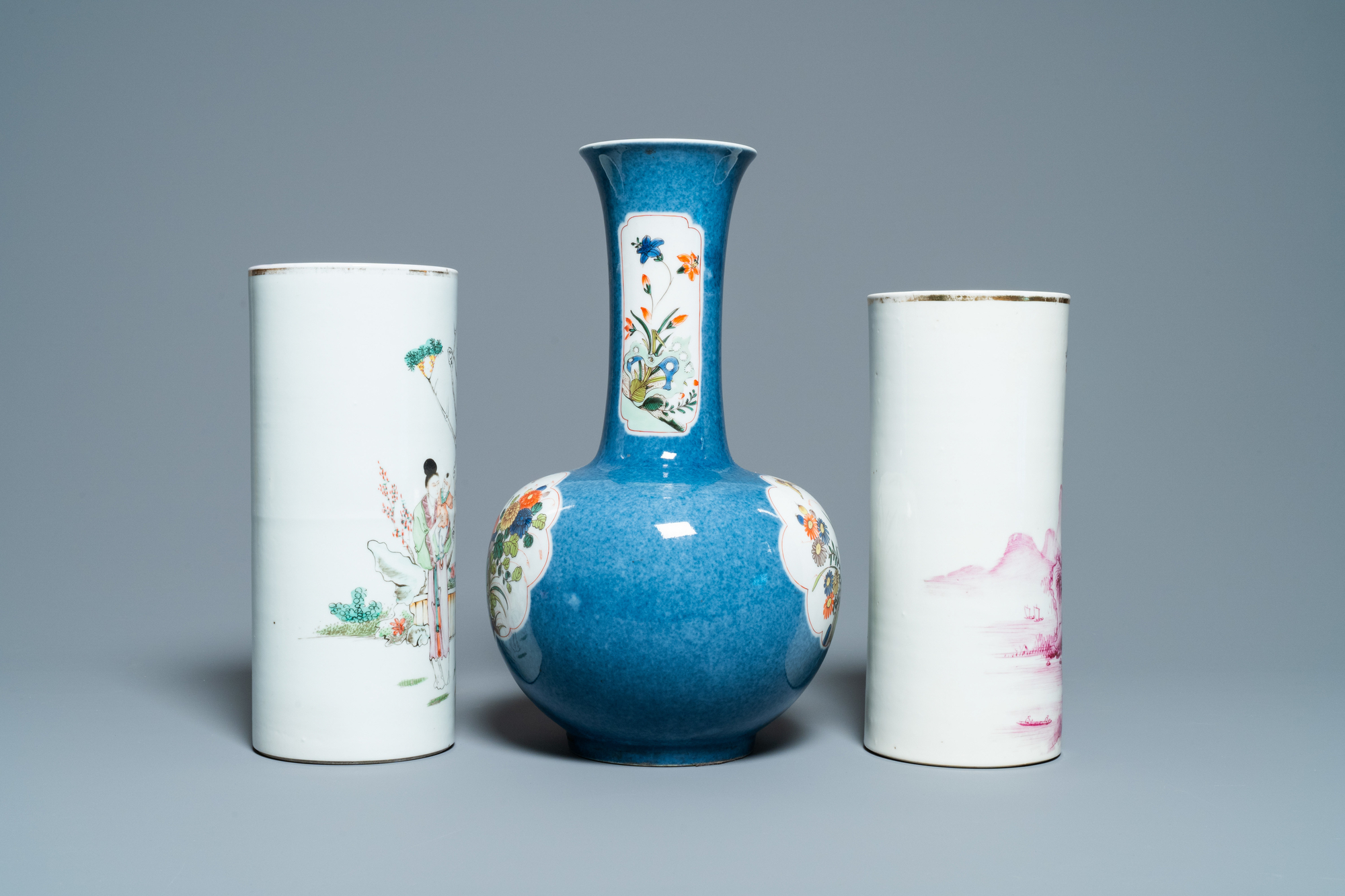Six Chinese famille rose and verte vases, 19/20th C. - Image 11 of 13