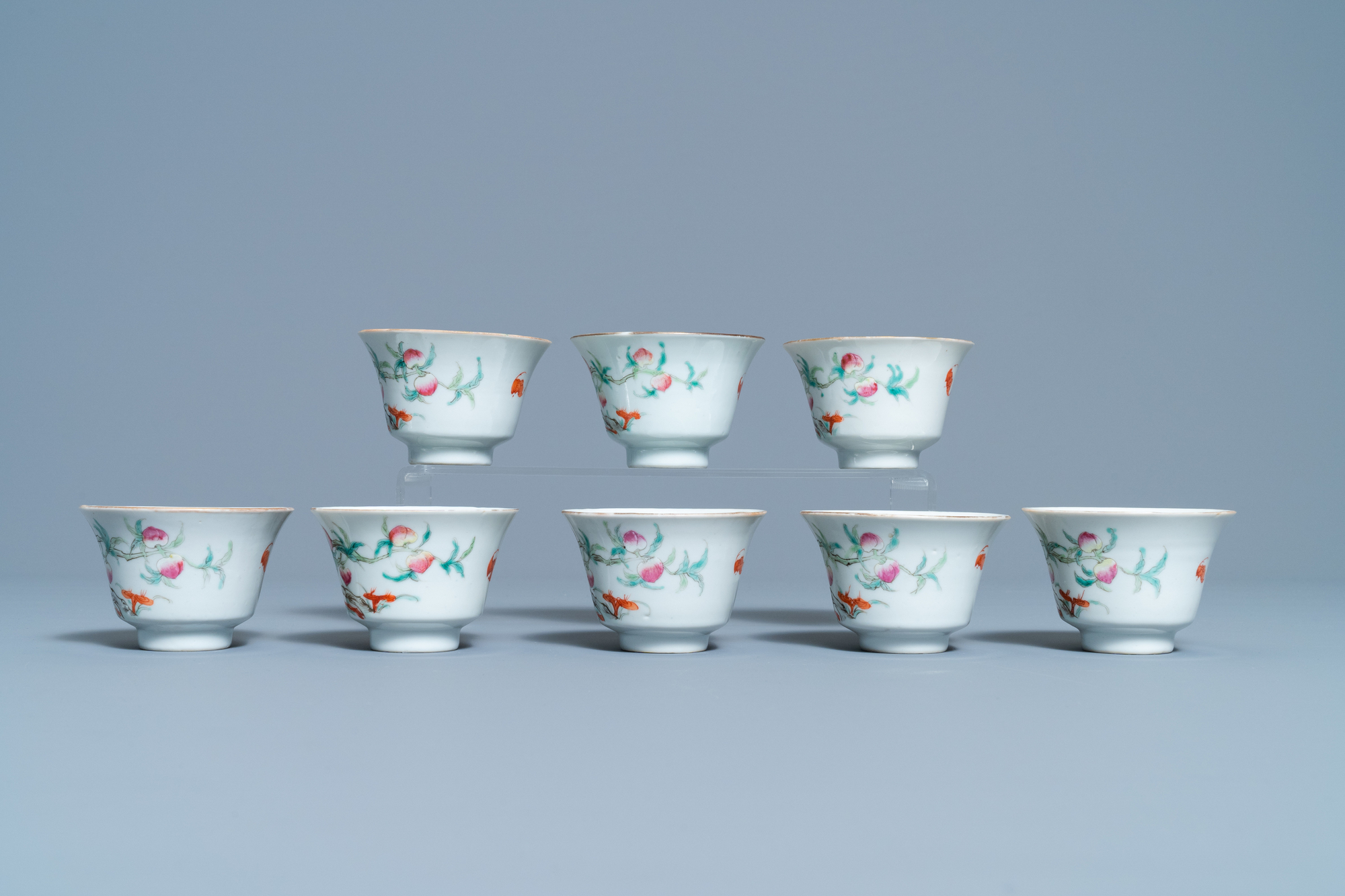 Eight Chinese famille rose 'nine peach' bowls, Hui Tong Zhen Pin mark, 19/20th C. - Image 3 of 7