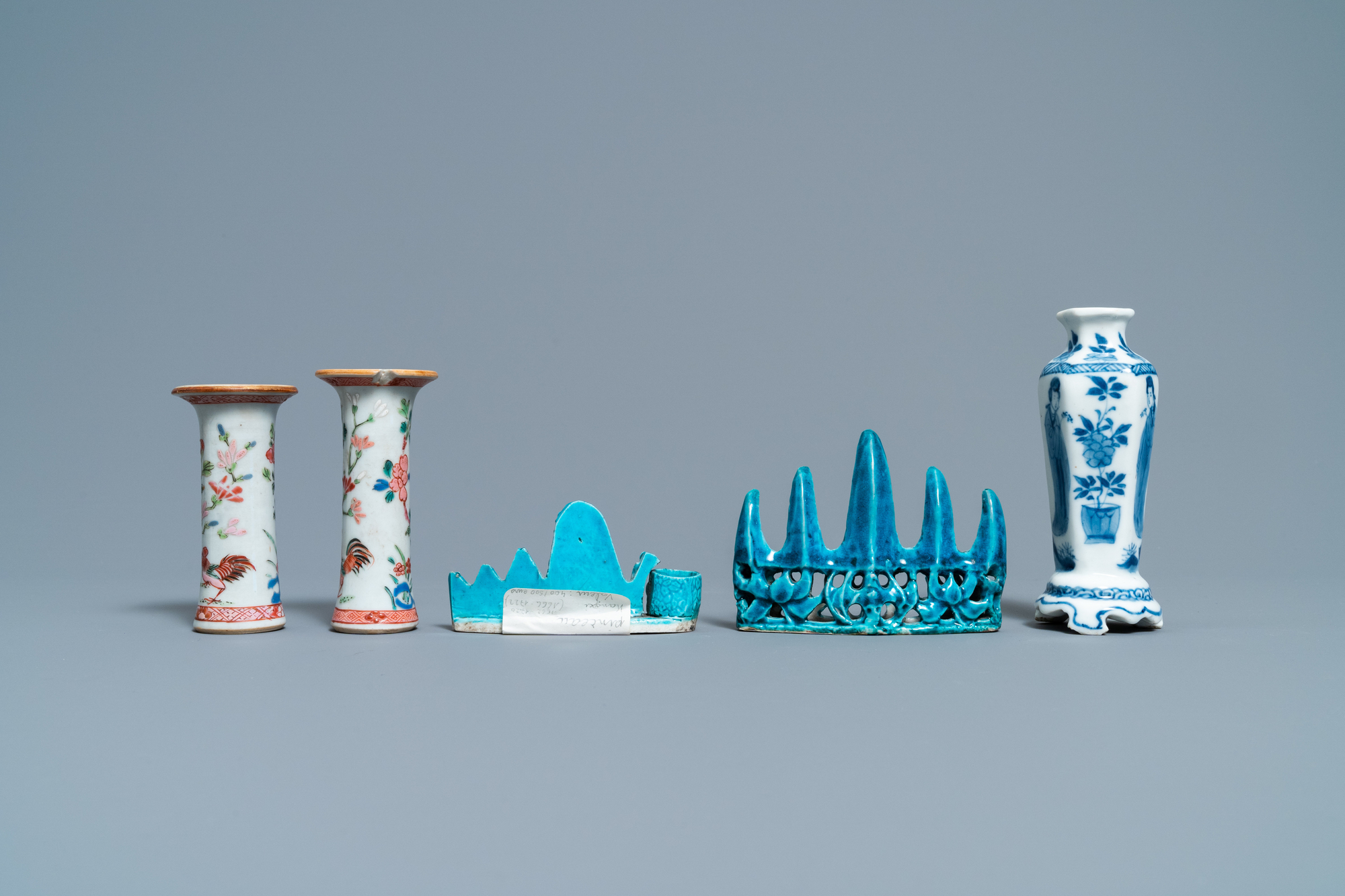 Three Chinese famille rose and blue and white vases and two turquoise brush rests, Kangxi/Qianlong - Image 3 of 7