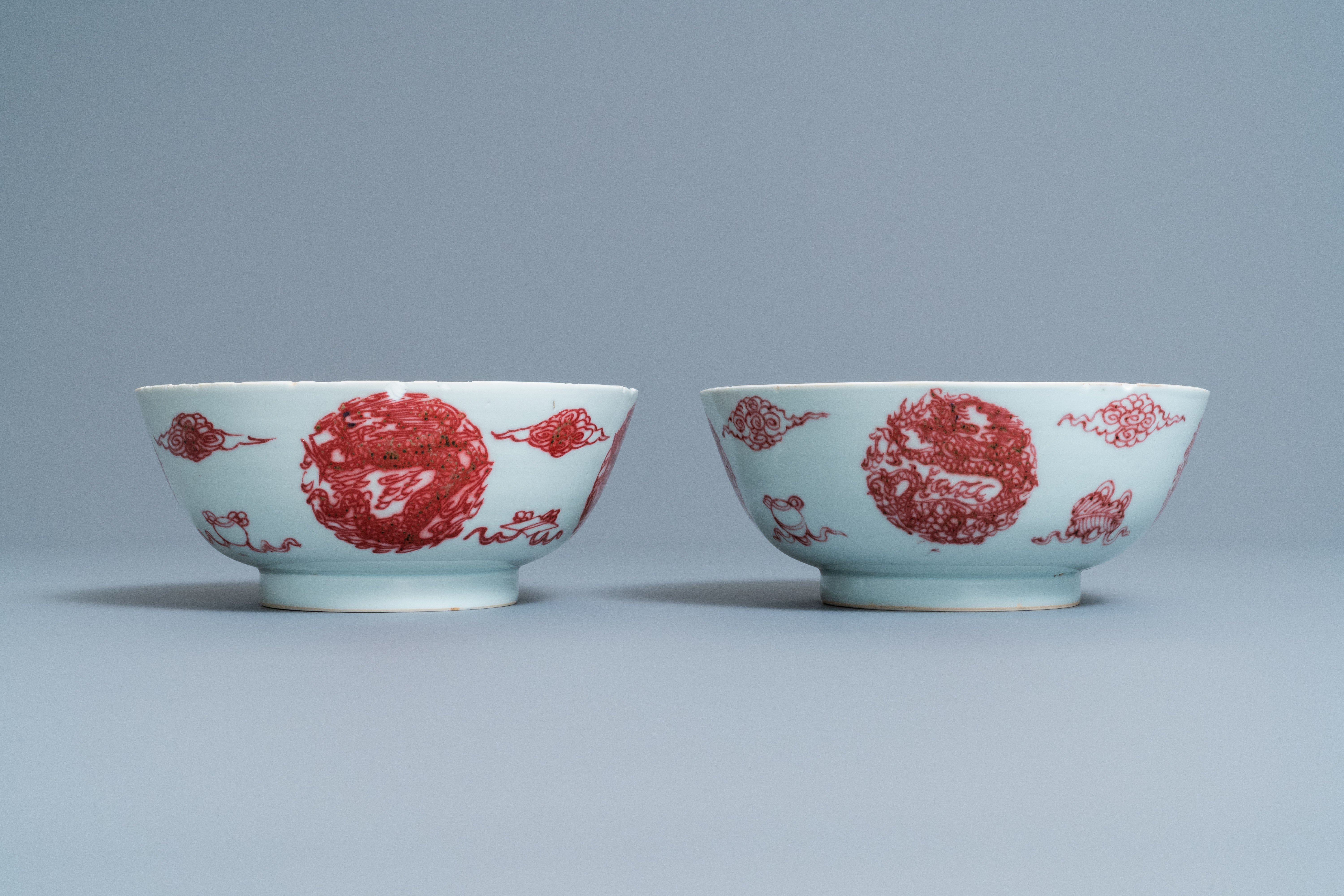 A pair of Chinese copper-red 'dragons and carps' bowls, Kangxi/Qianlong - Image 6 of 8