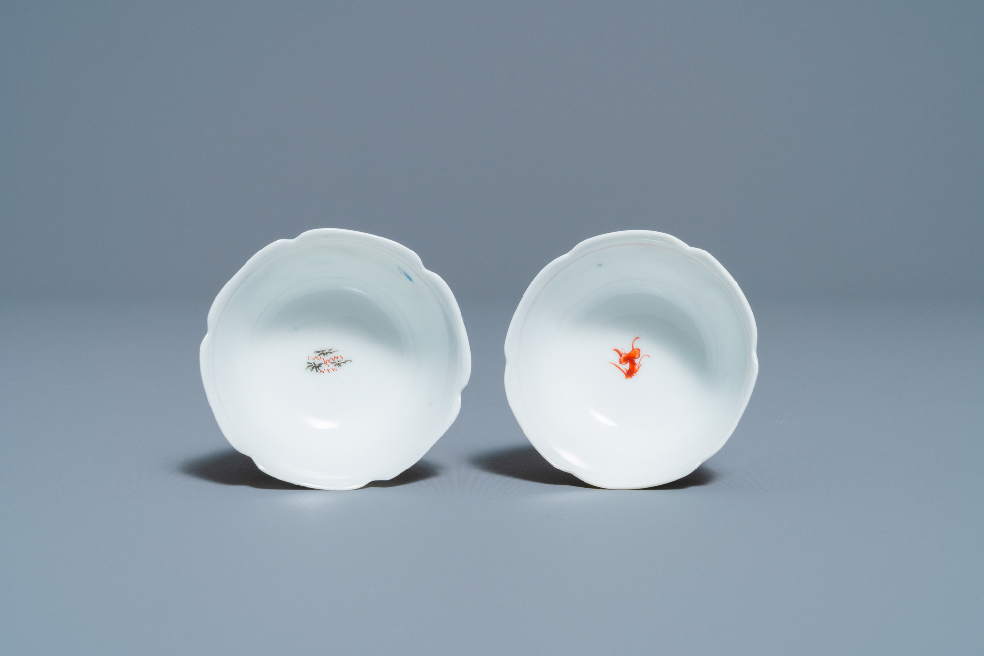 Two Chinese iron-red and gilt cups and saucers, Yongzheng - Image 8 of 9