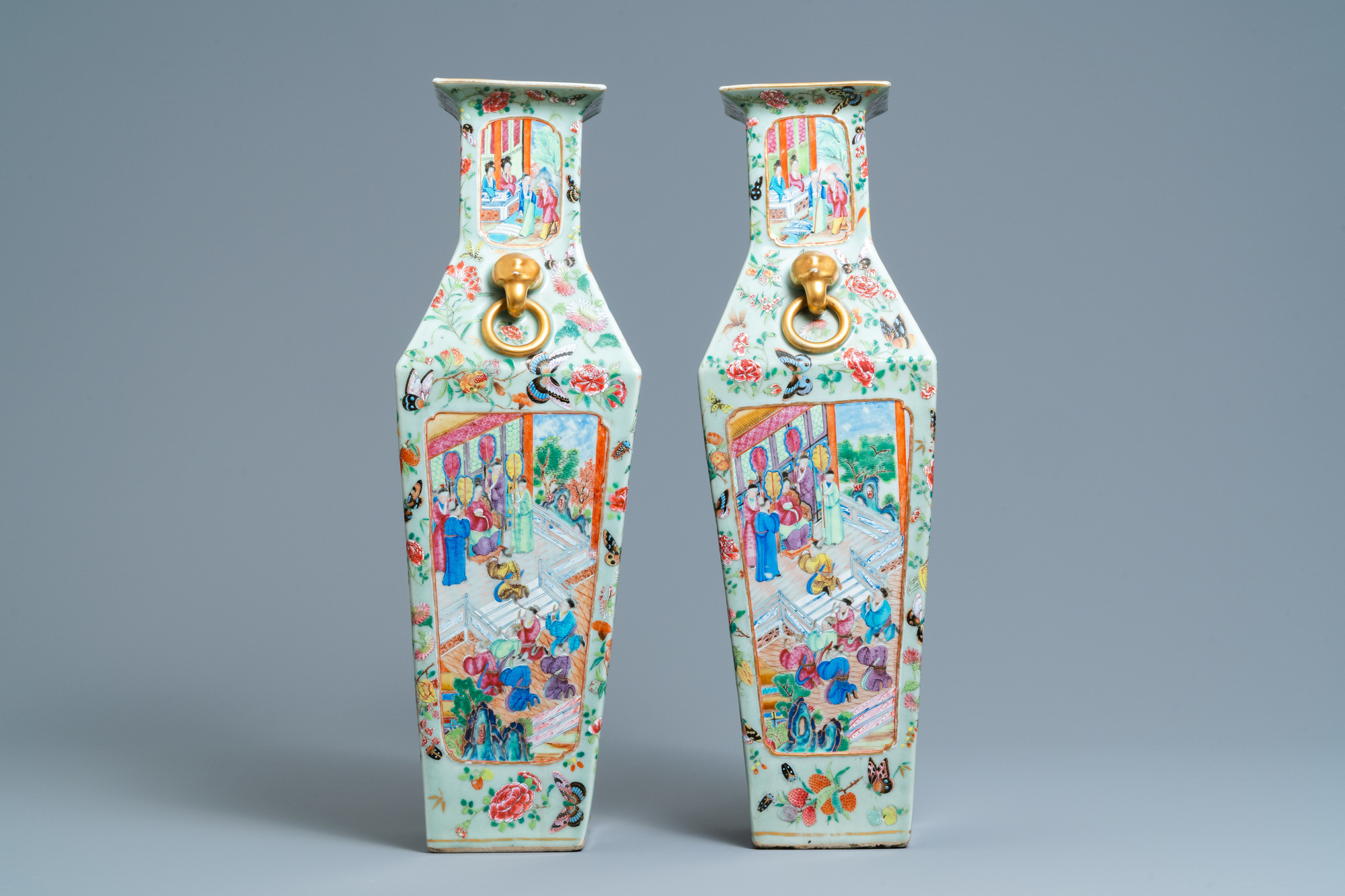 A pair of Chinese square famille rose celadon-ground vases on gilt bronze feet, 19th C. - Image 3 of 7