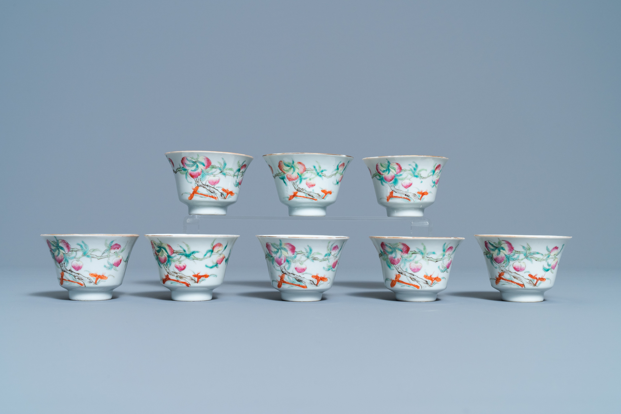 Eight Chinese famille rose 'nine peach' bowls, Hui Tong Zhen Pin mark, 19/20th C. - Image 2 of 7