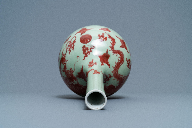 A Chinese copper-red celadon-ground 'dragon' vase, Kangxi - Image 6 of 13