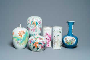 Six Chinese famille rose and verte vases, 19/20th C.
