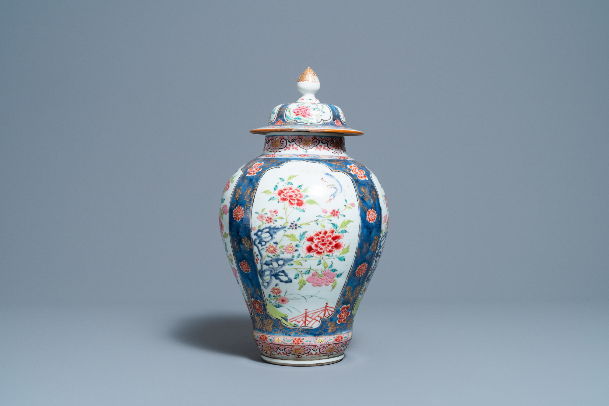 A Chinese famille rose vase and cover, Yongzheng - Image 3 of 7