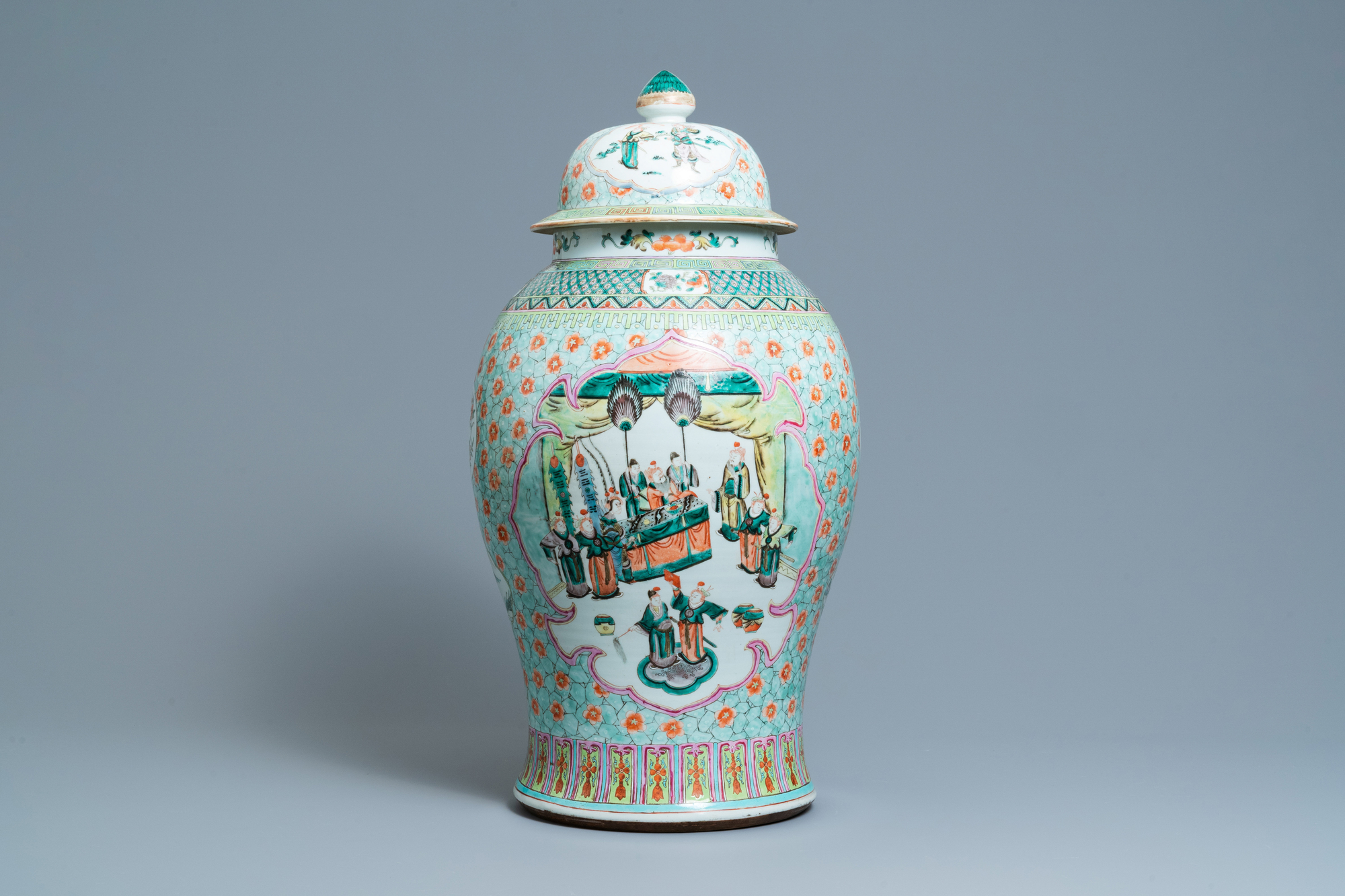 A large Chinese famille verte vase and cover, 19th C.