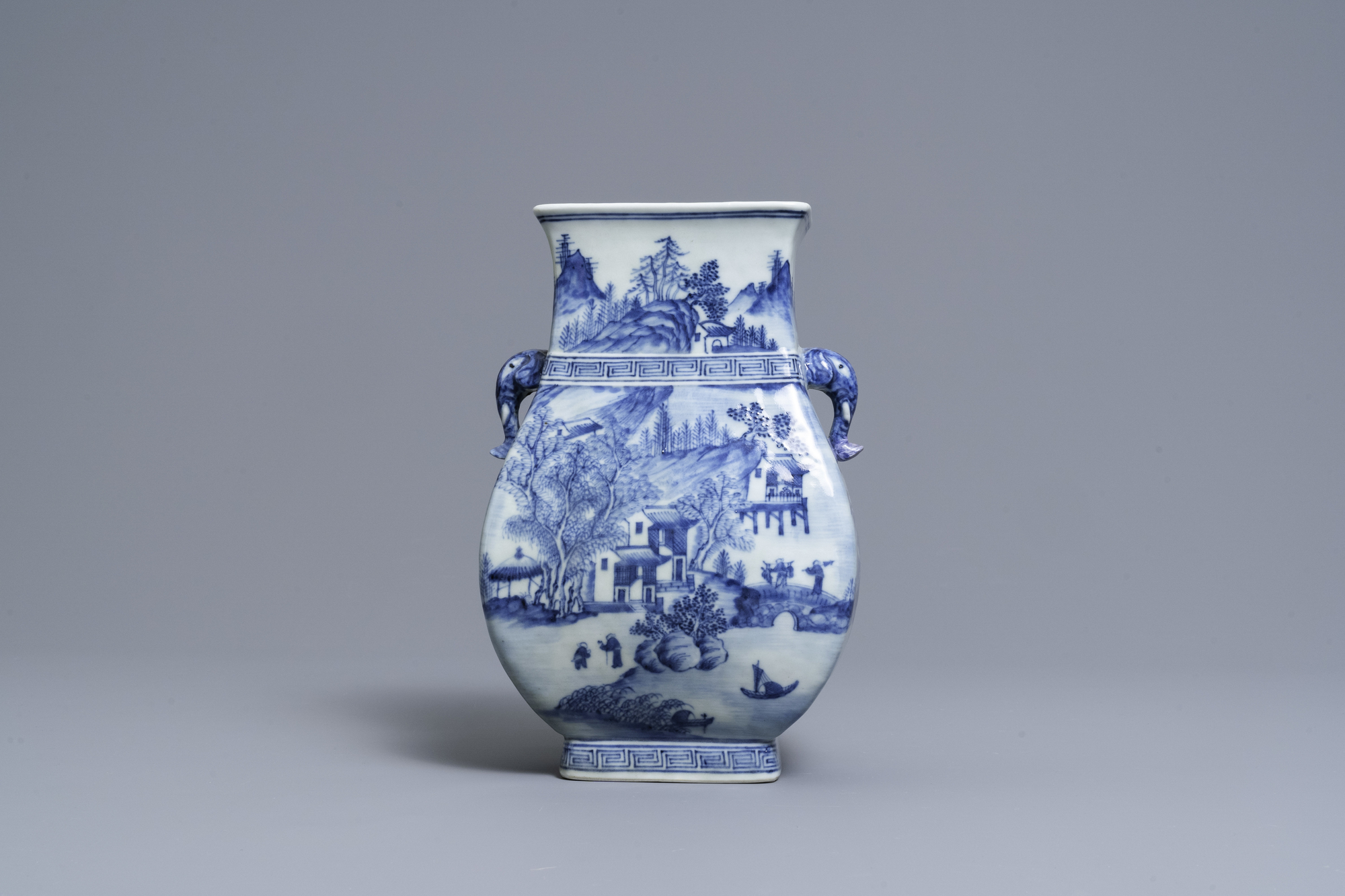 A Chinese blue and white vase with elephant handles, Qianlong - Image 3 of 6