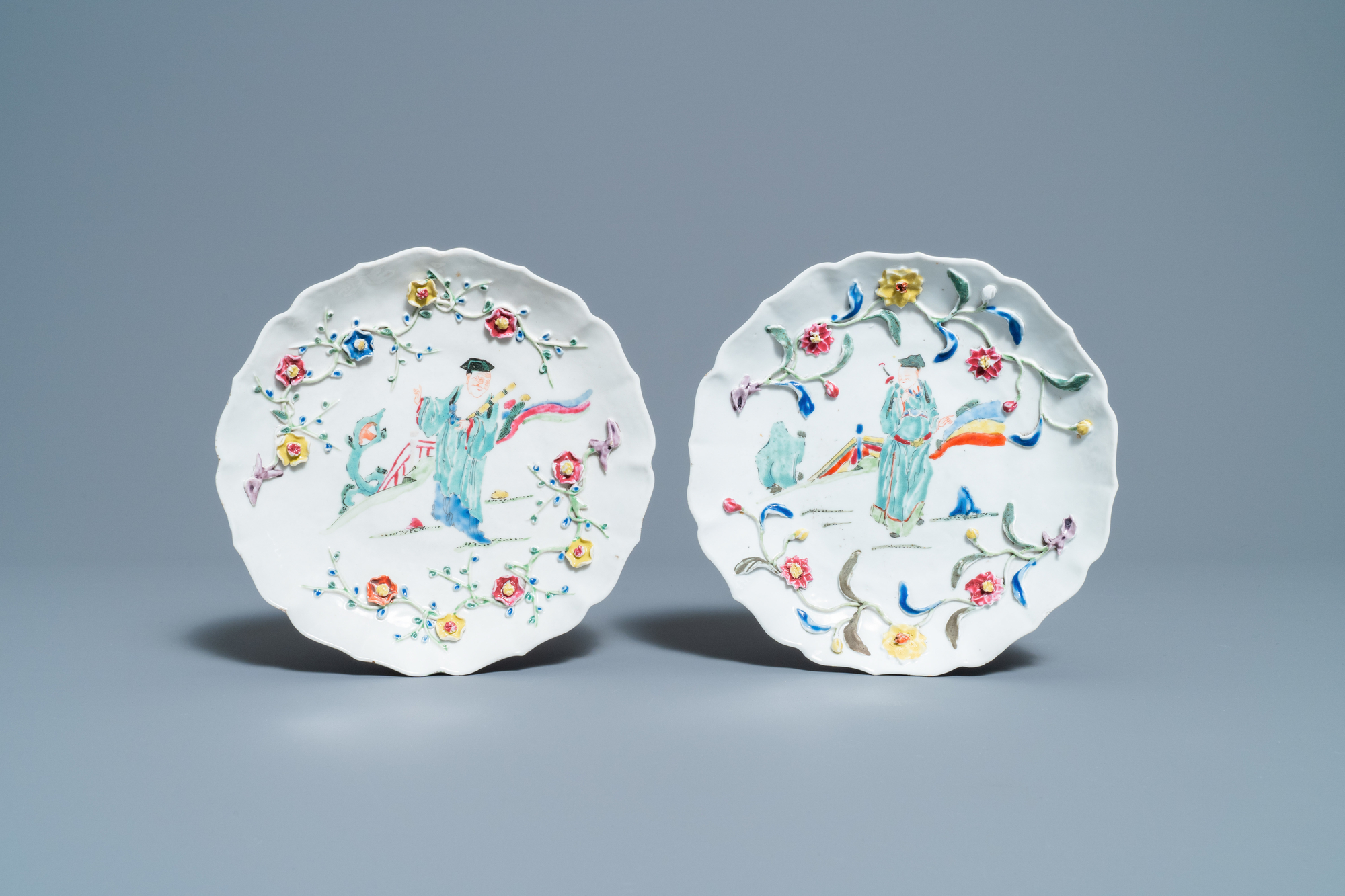 A pair of Chinese famille rose relief-decorated dishes, Yongzheng - Image 2 of 7
