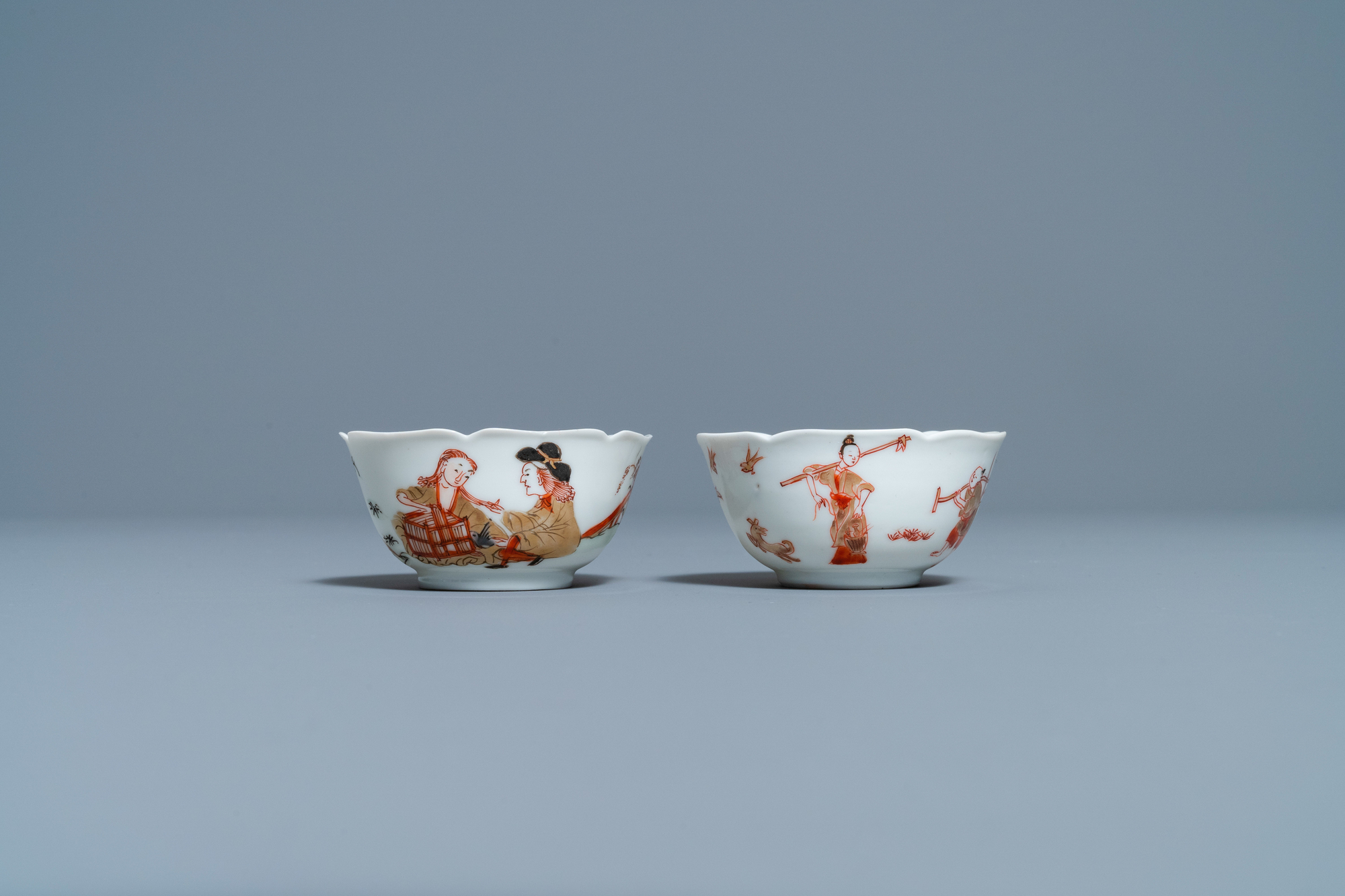Two Chinese iron-red and gilt cups and saucers, Yongzheng - Image 4 of 9