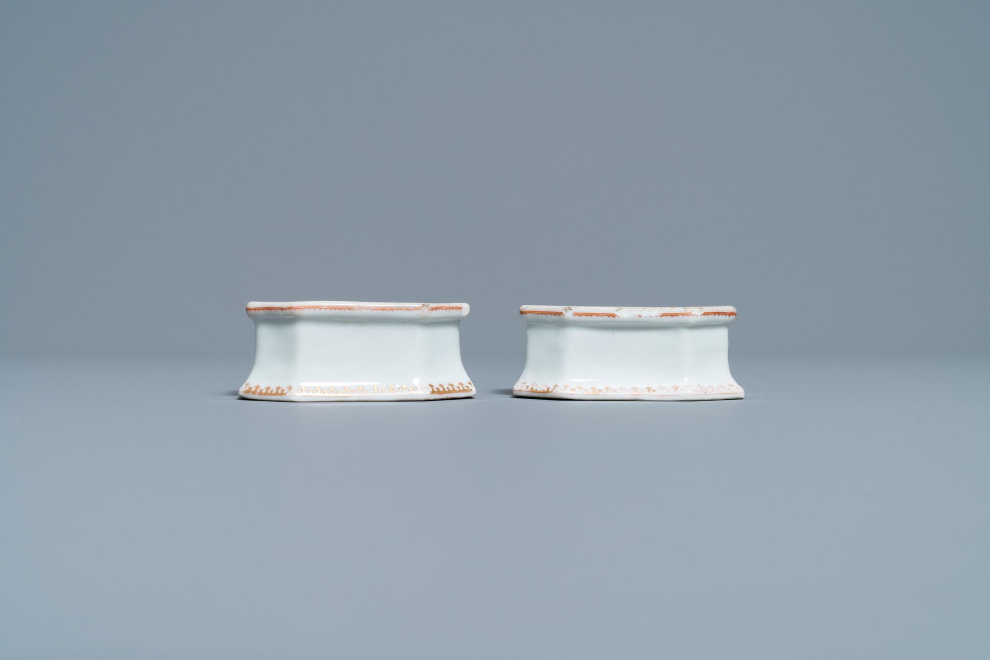 A pair of Chinese Scottish market Ross of Balnagowan armorial salt cellars, Qianlong - Image 4 of 7