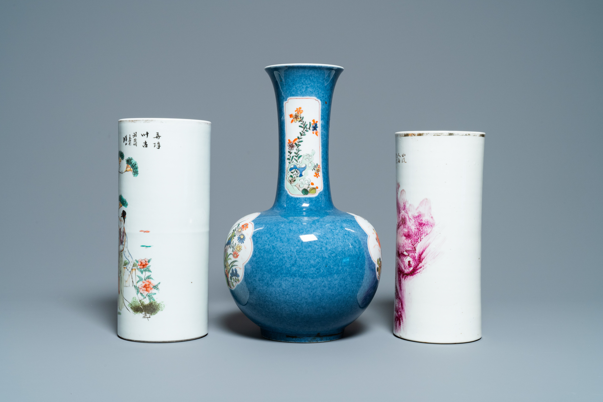 Six Chinese famille rose and verte vases, 19/20th C. - Image 9 of 13