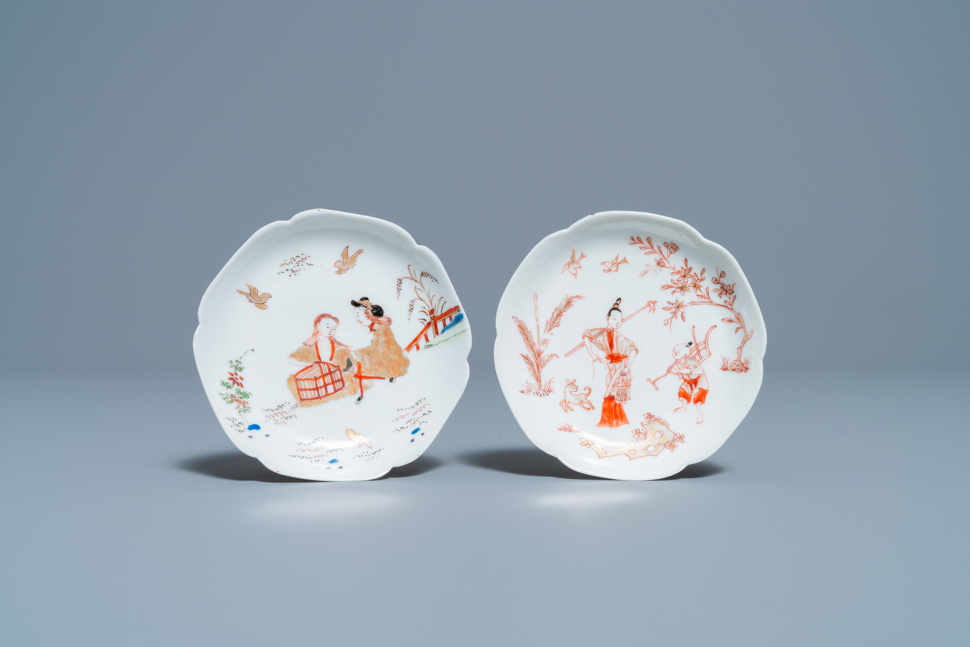 Two Chinese iron-red and gilt cups and saucers, Yongzheng - Image 2 of 9