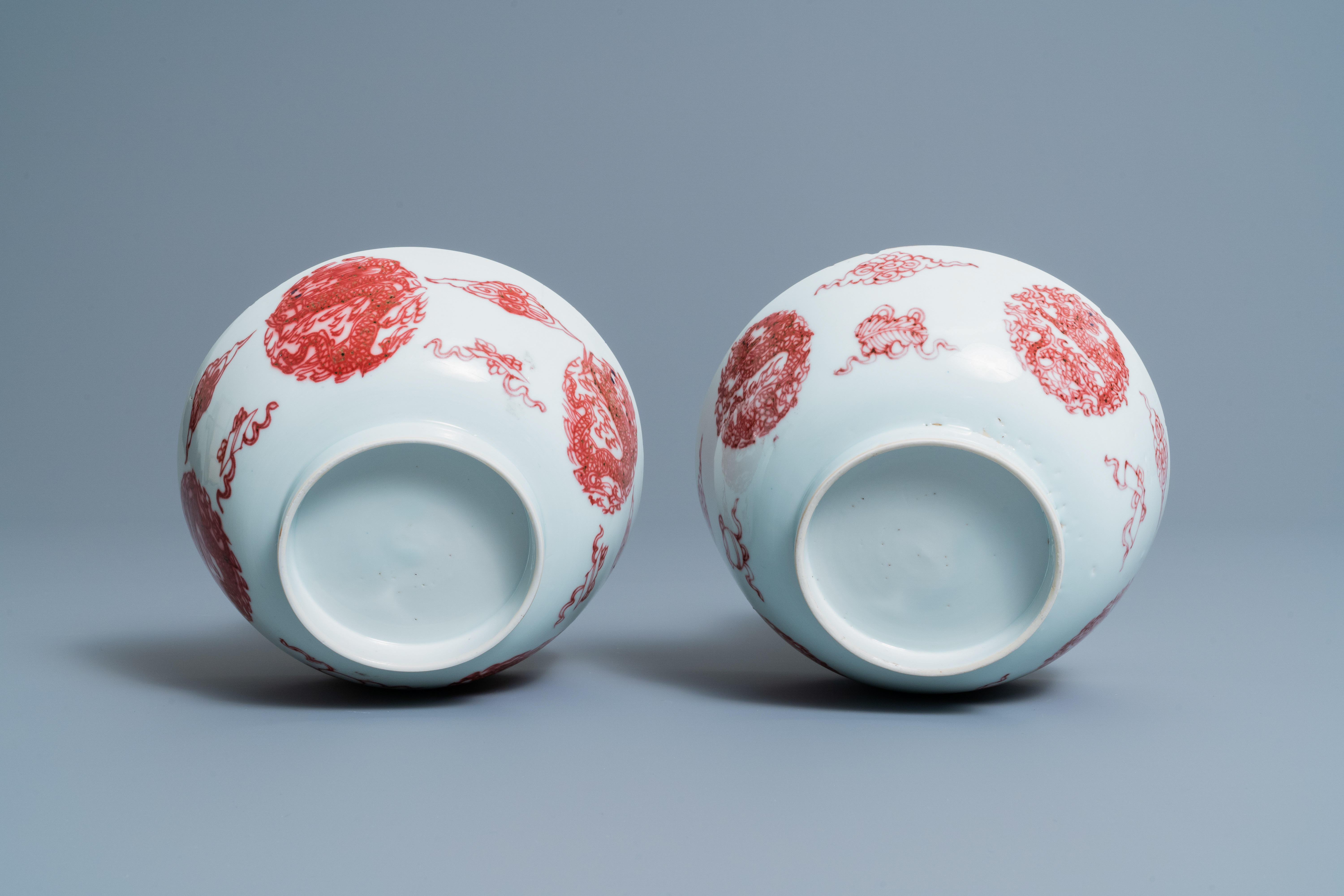 A pair of Chinese copper-red 'dragons and carps' bowls, Kangxi/Qianlong - Image 8 of 8